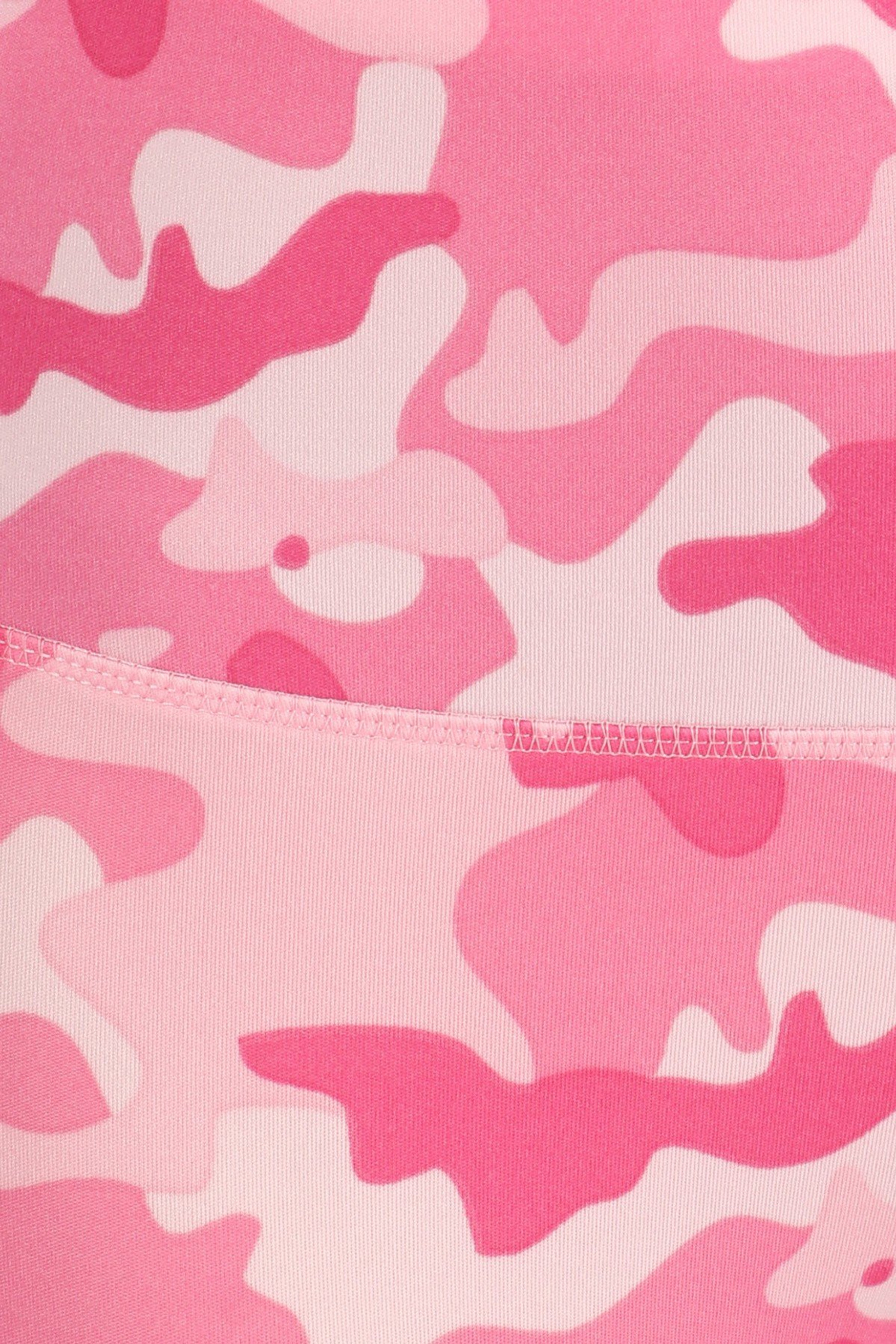 Close-up fabric swatch of Cotton Candy Camouflage Sport Leggings with Cargo Pocket