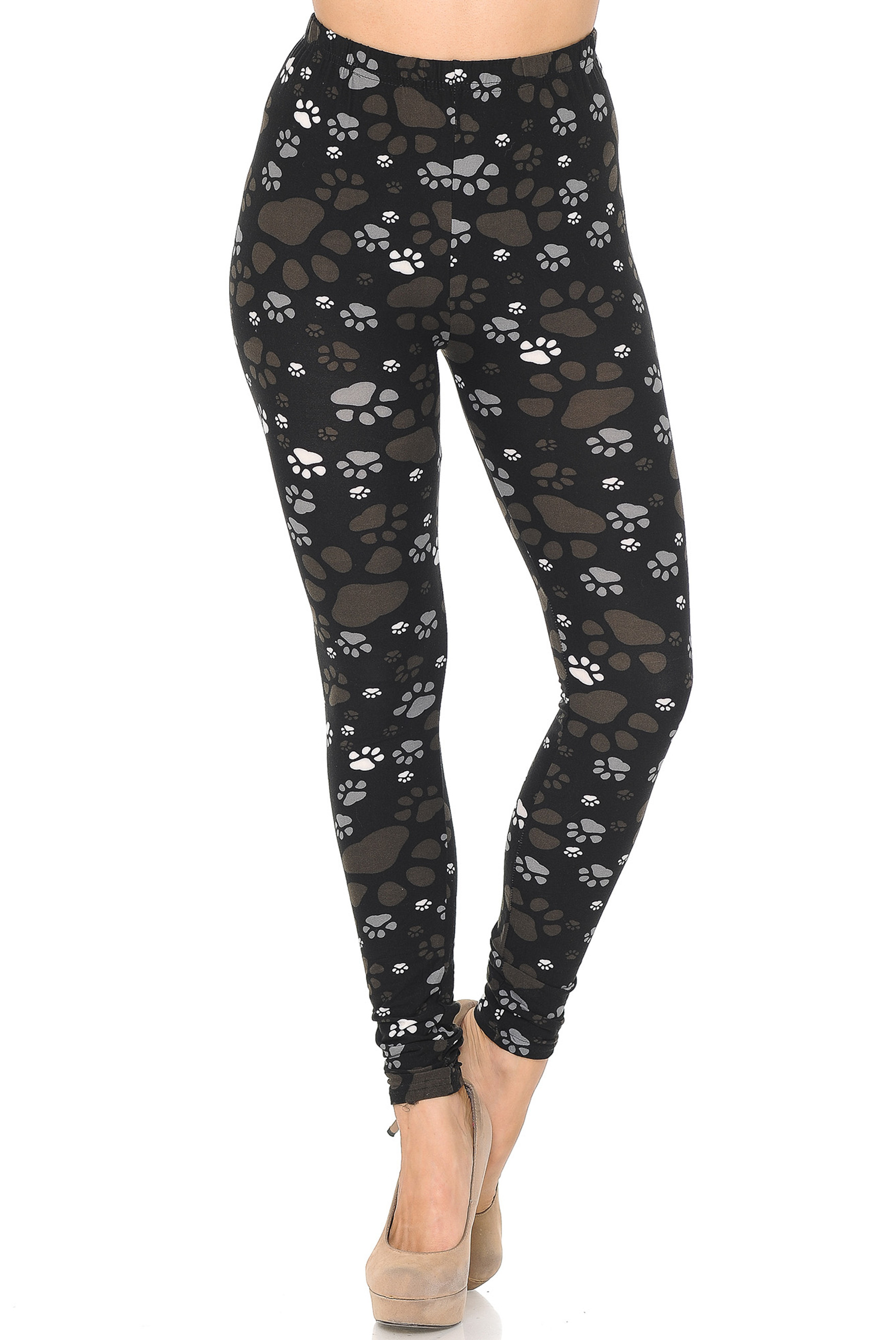 Front of Creamy Soft Muddy Paw Print Leggings  - USA Fashion™