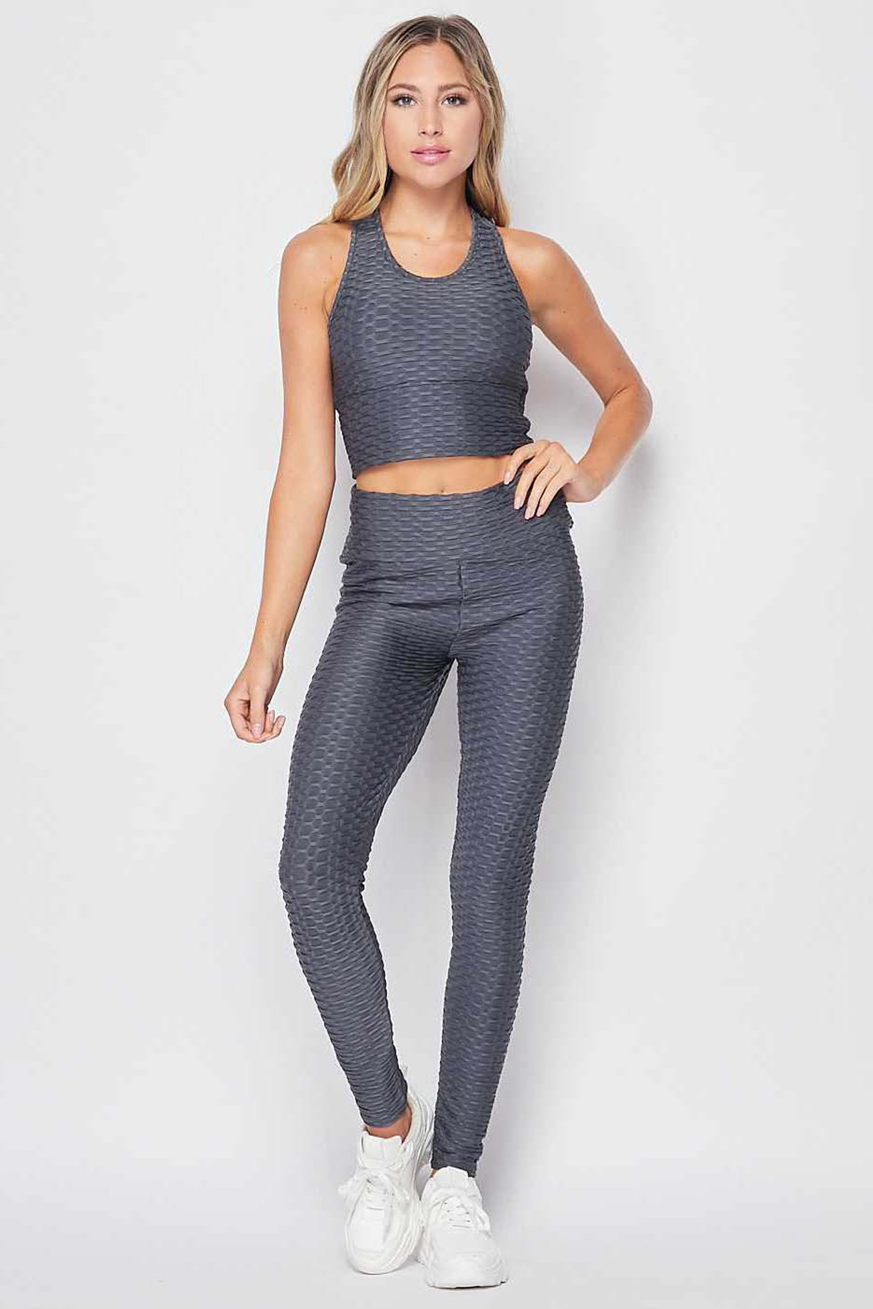 Front view of Charcoal 2 Piece Scrunch Butt Leggings and Crop Top Set