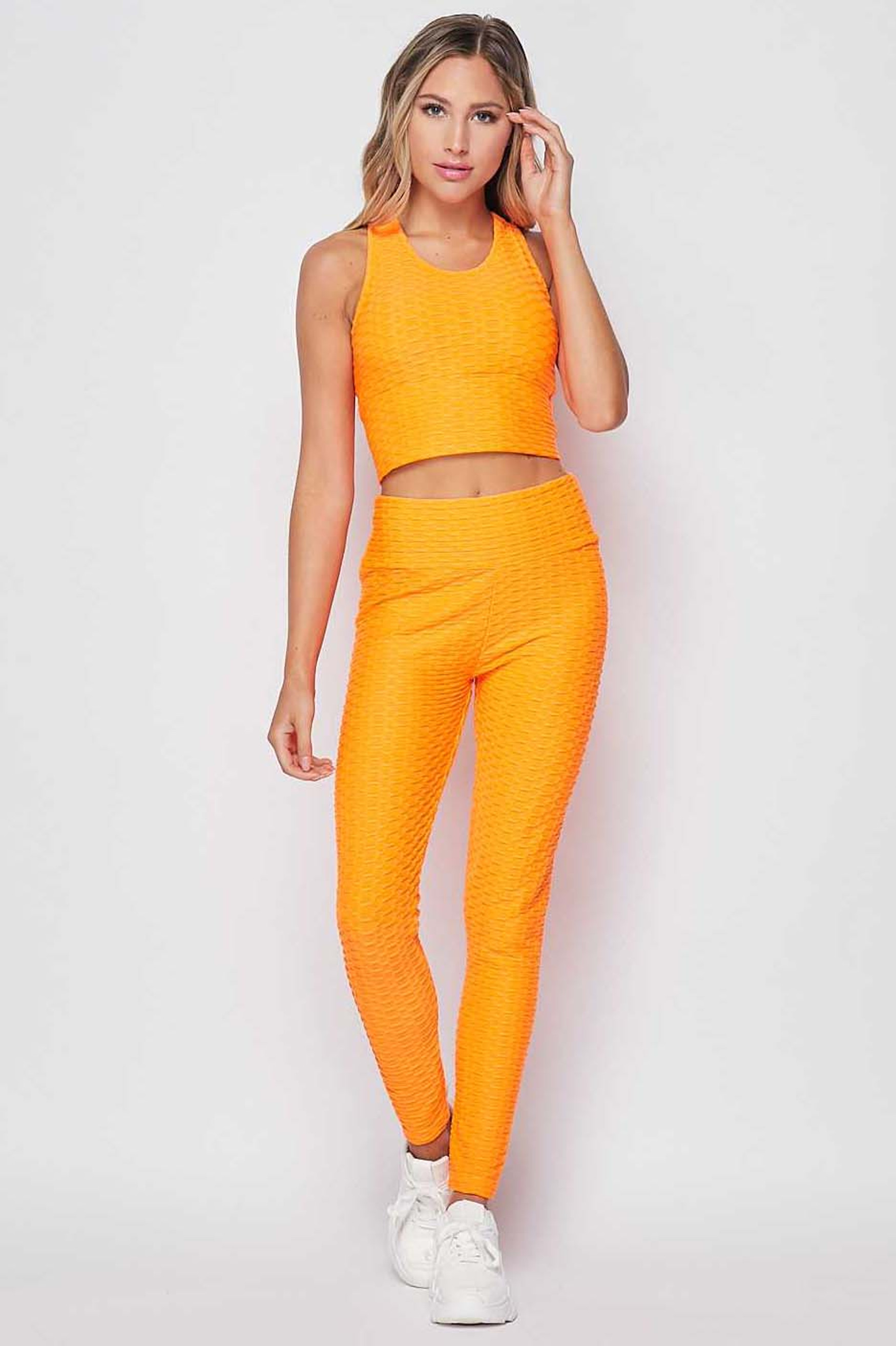 Front side view of Mustard 2 Piece Scrunch Butt Leggings and Crop Top Set
