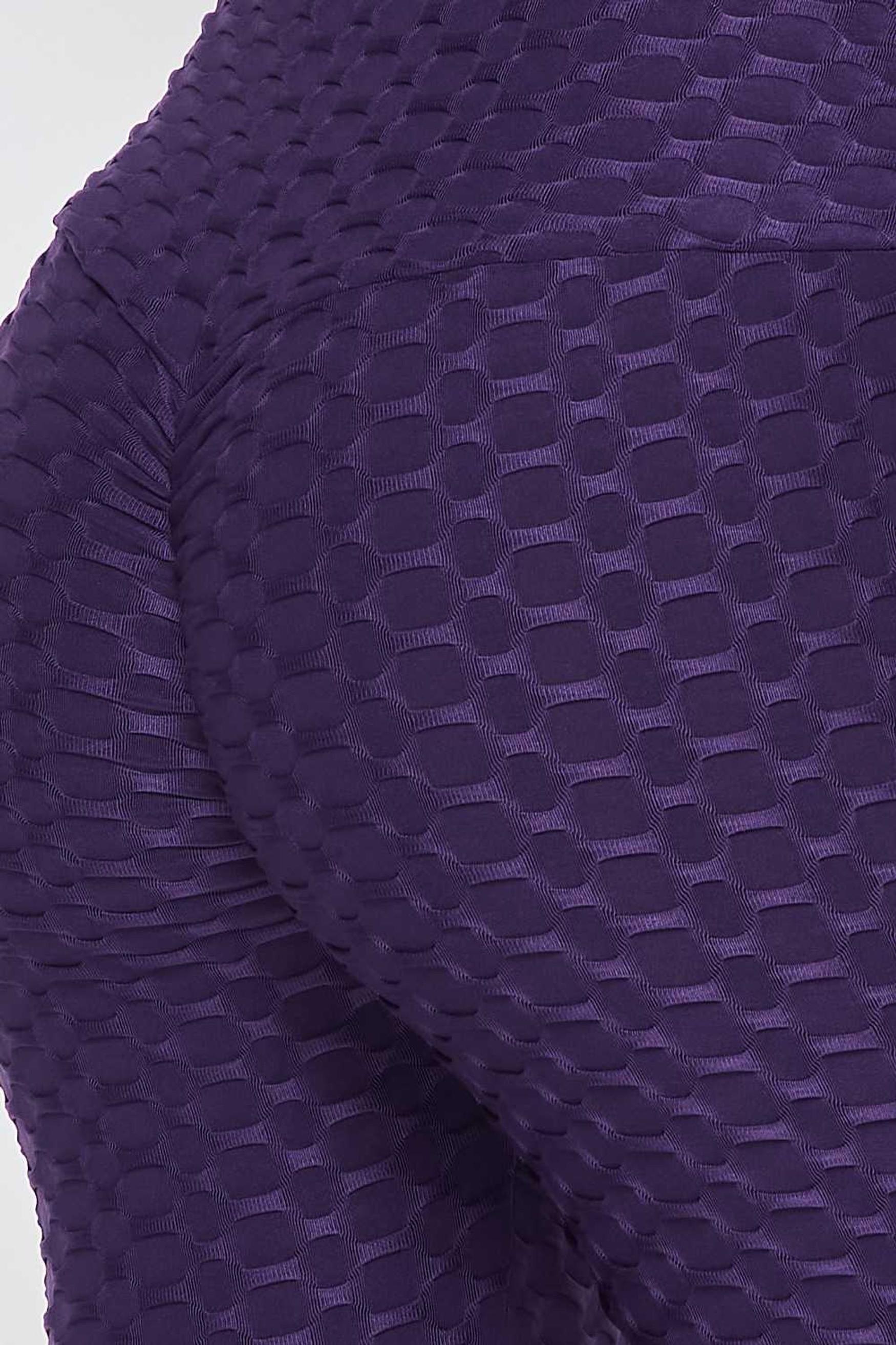 Close up swatch of Purple 2 Piece Scrunch Butt Leggings and Crop Top Set