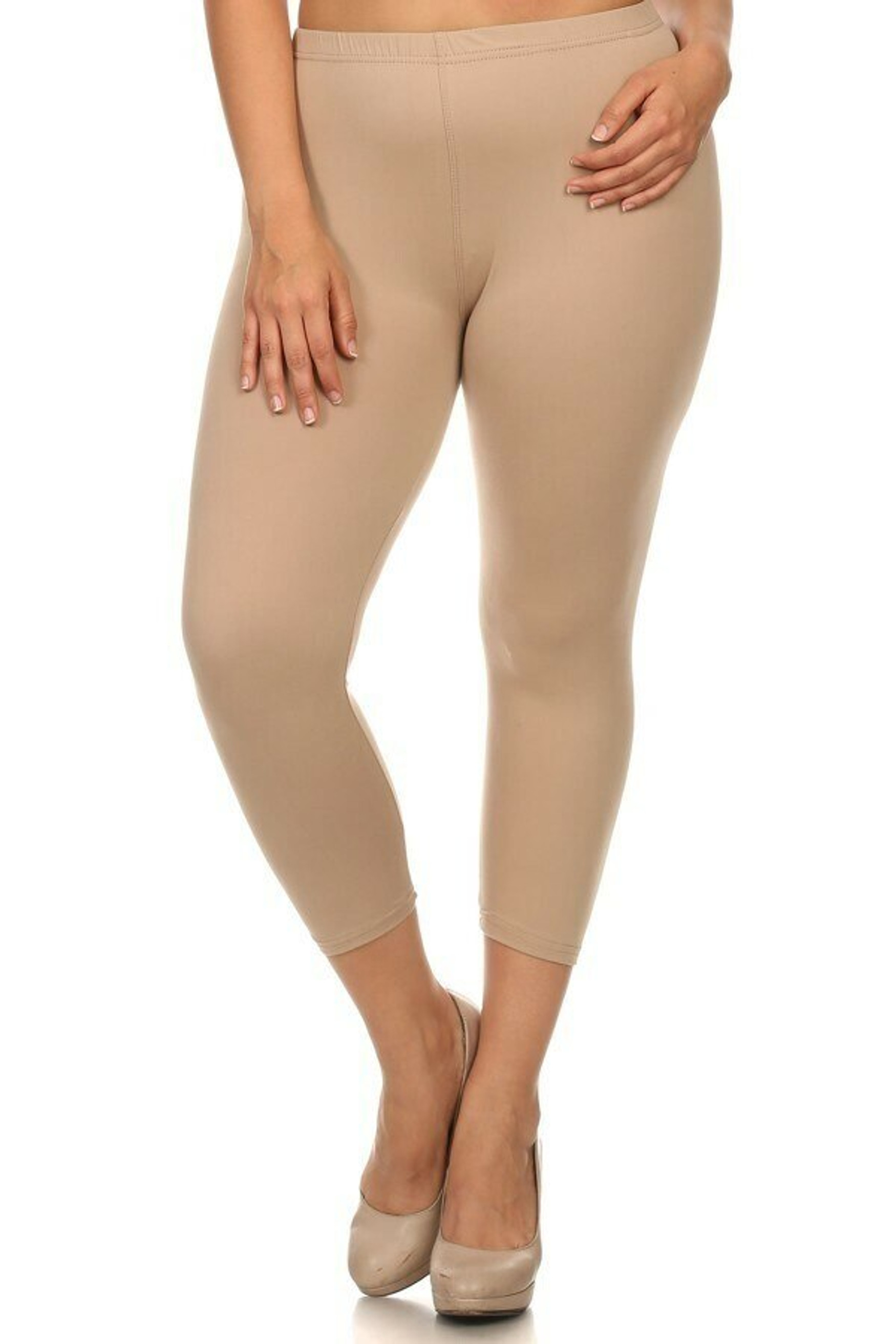 Front side image of beige Buttery Soft Solid Basic Extra Plus Size Capris - 3X-5X - New Mix