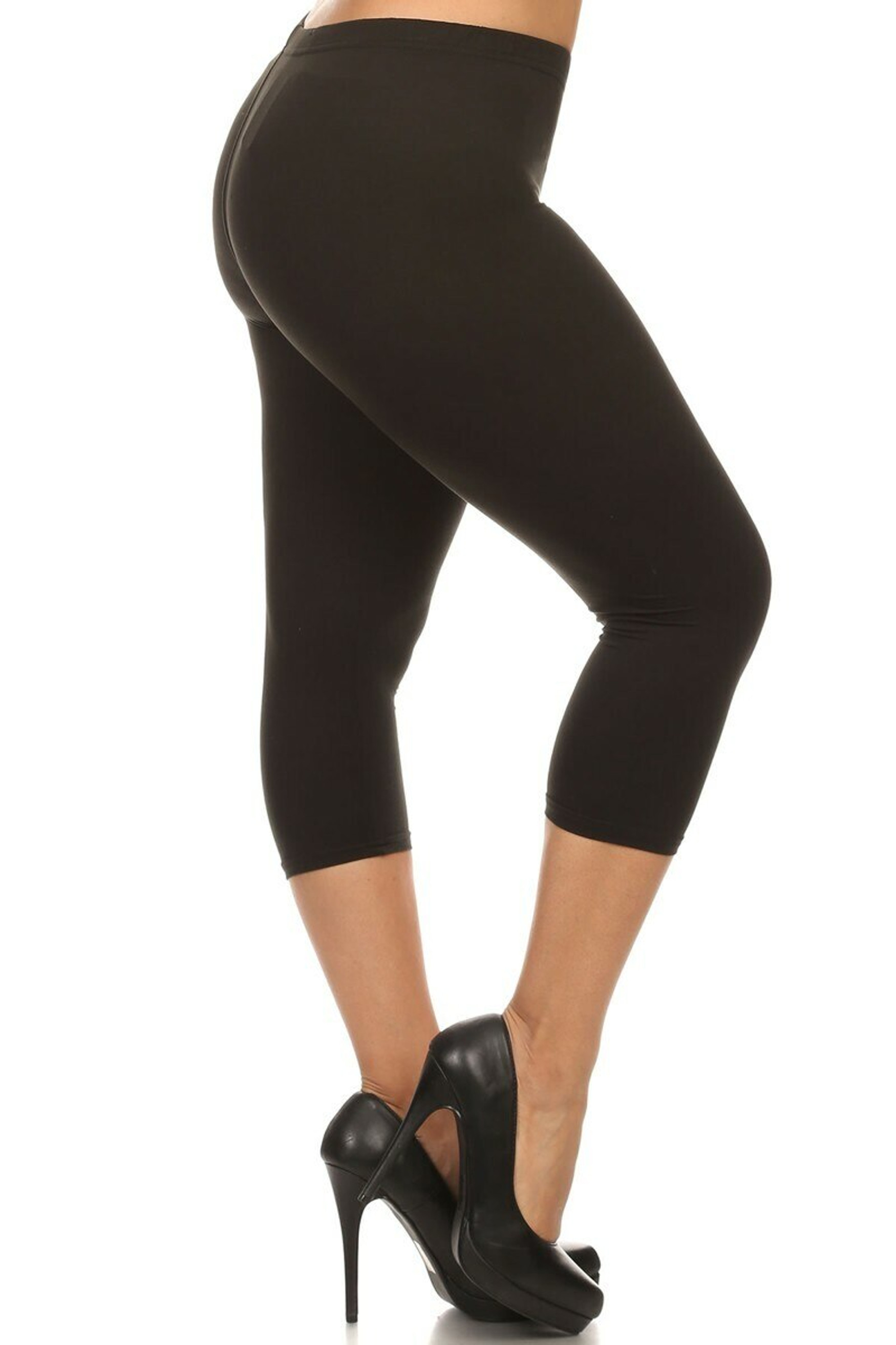 Right side of Black Buttery Soft Solid Basic Extra Plus Size Capris - 3X-5X - New Mix