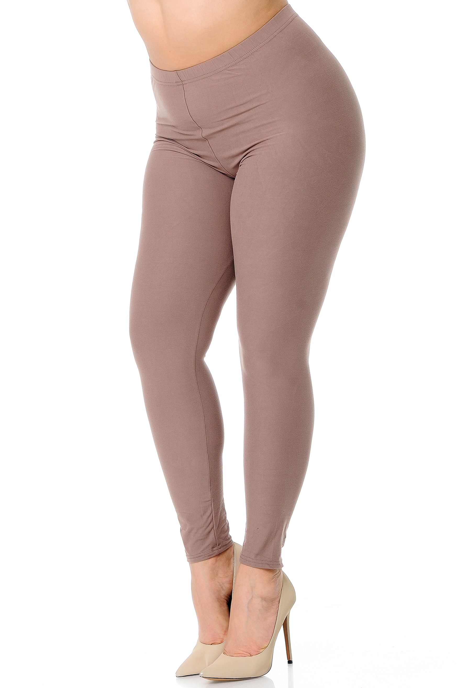 45 degree view of Mocha Buttery Soft Basic Solid Extra Plus Size Leggings - 3X-5X - New Mix