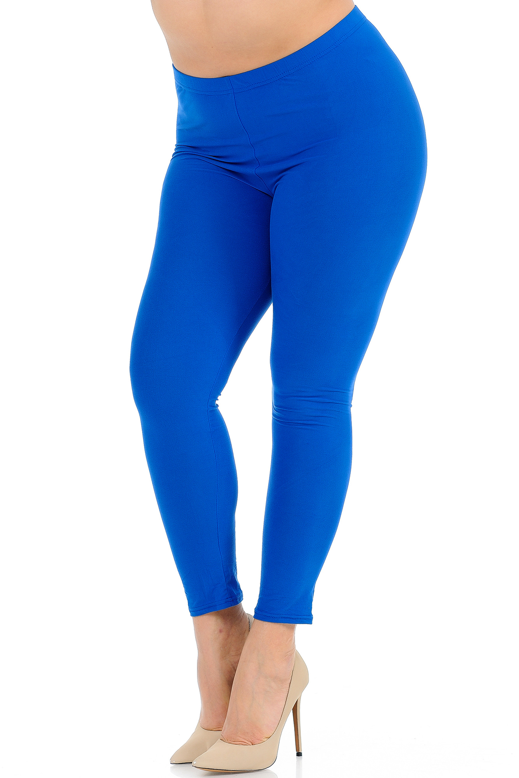 45 degree view of Blue Buttery Soft Basic Solid Extra Plus Size Leggings - 3X-5X - New Mix