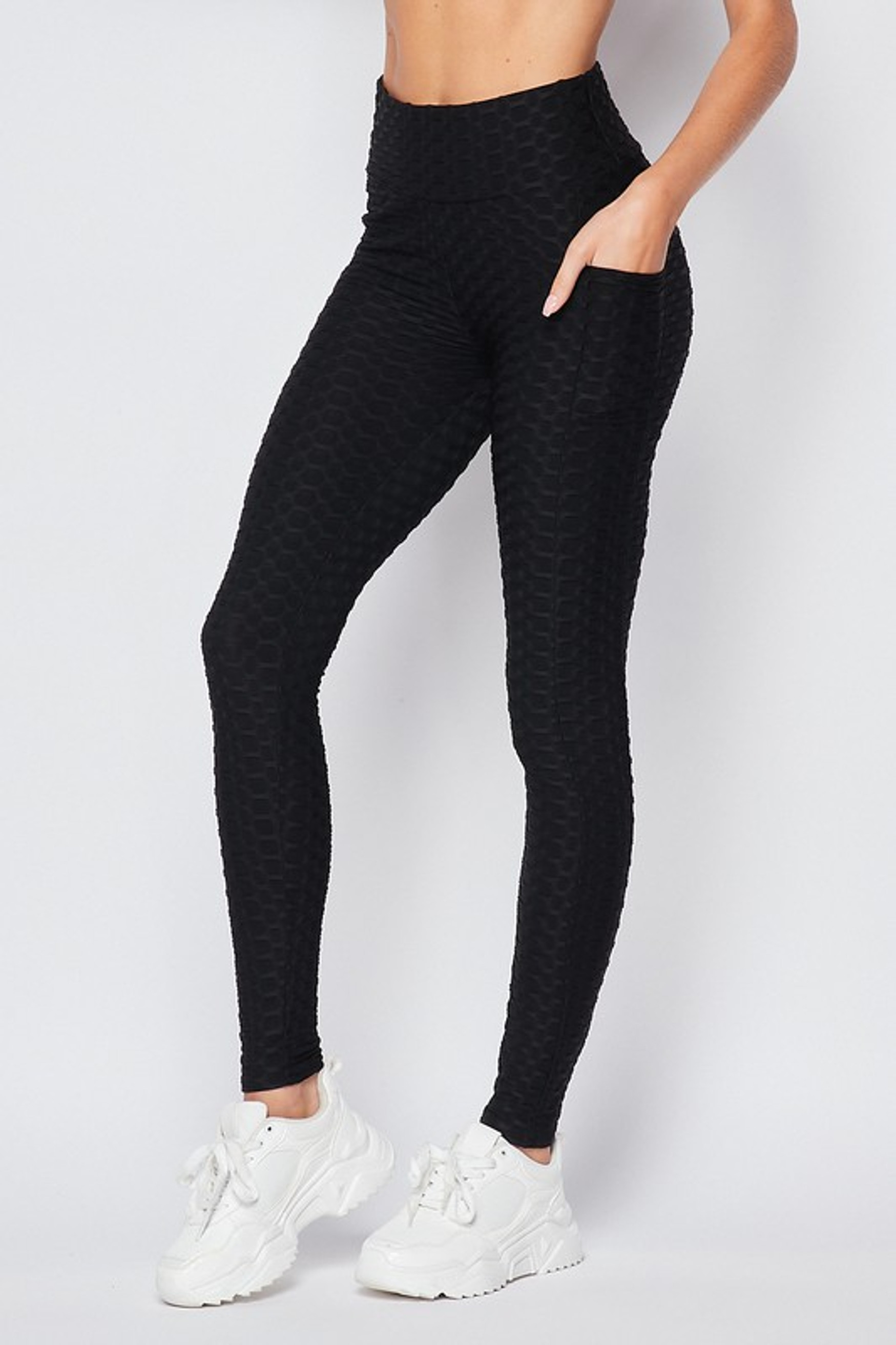 Left side of Black Scrunch Butt Popcorn Textured High Waisted Leggings with Pockets - Zinati (W&J)