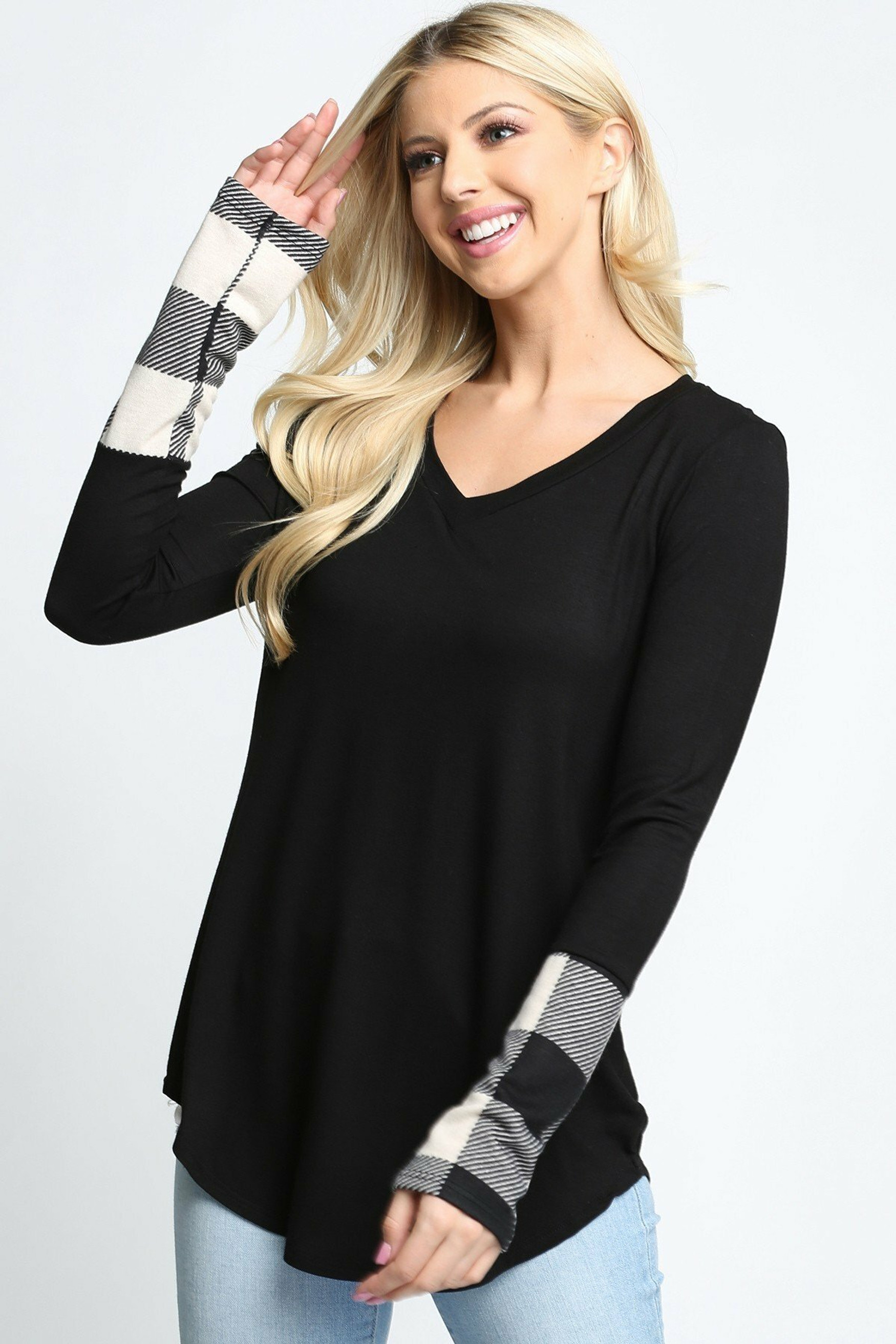Plaid Cuff Solid Contrast V Neck Long Sleeve Plus Size Top