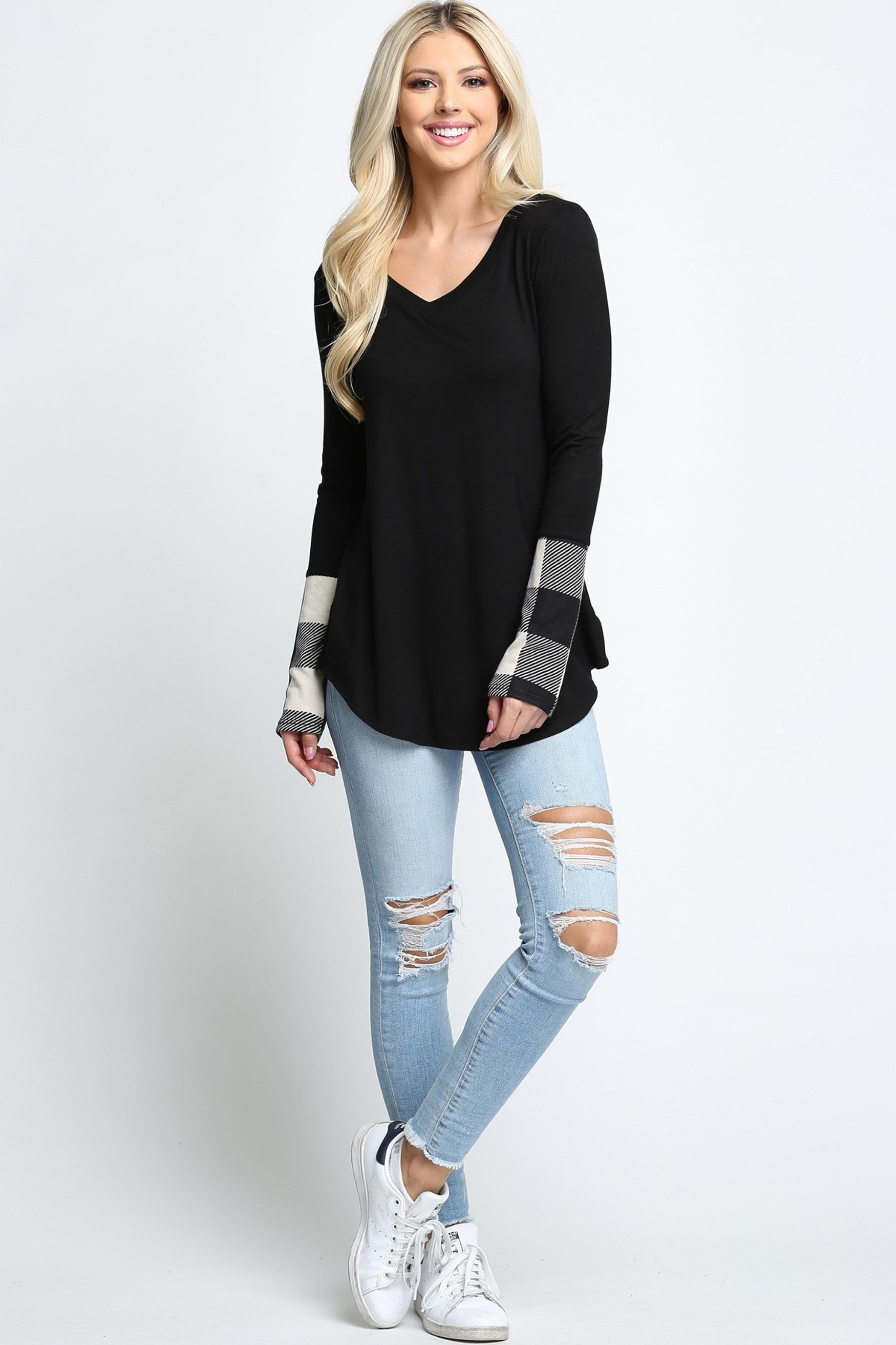 Ivory Plaid Cuff Solid Contrast V Neck Long Sleeve Top