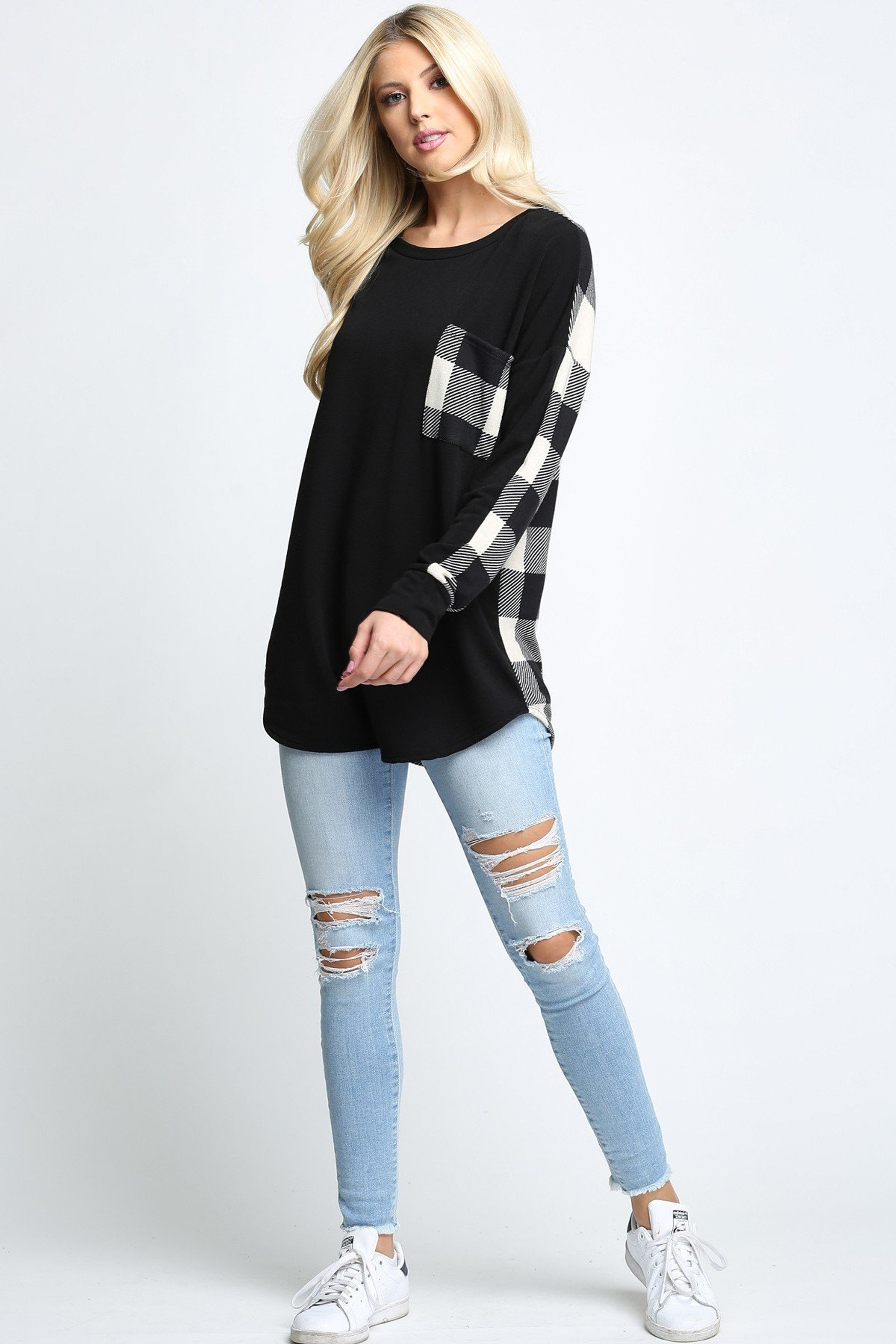 White Plaid Contrast Long Sleeve Plus Size Top with Front Pocket