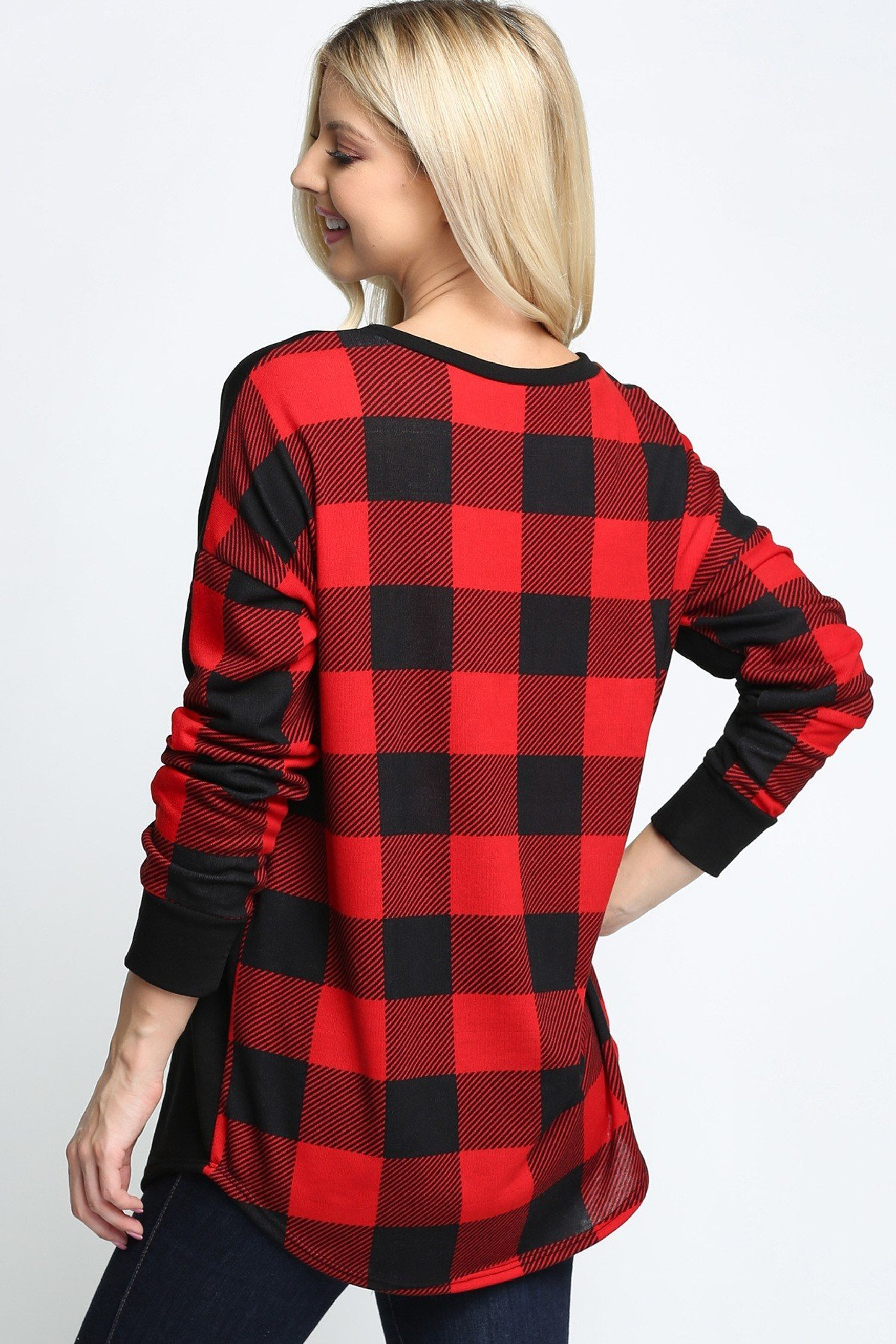 Red Plaid Contrast Long Sleeve Top with Front Pocket