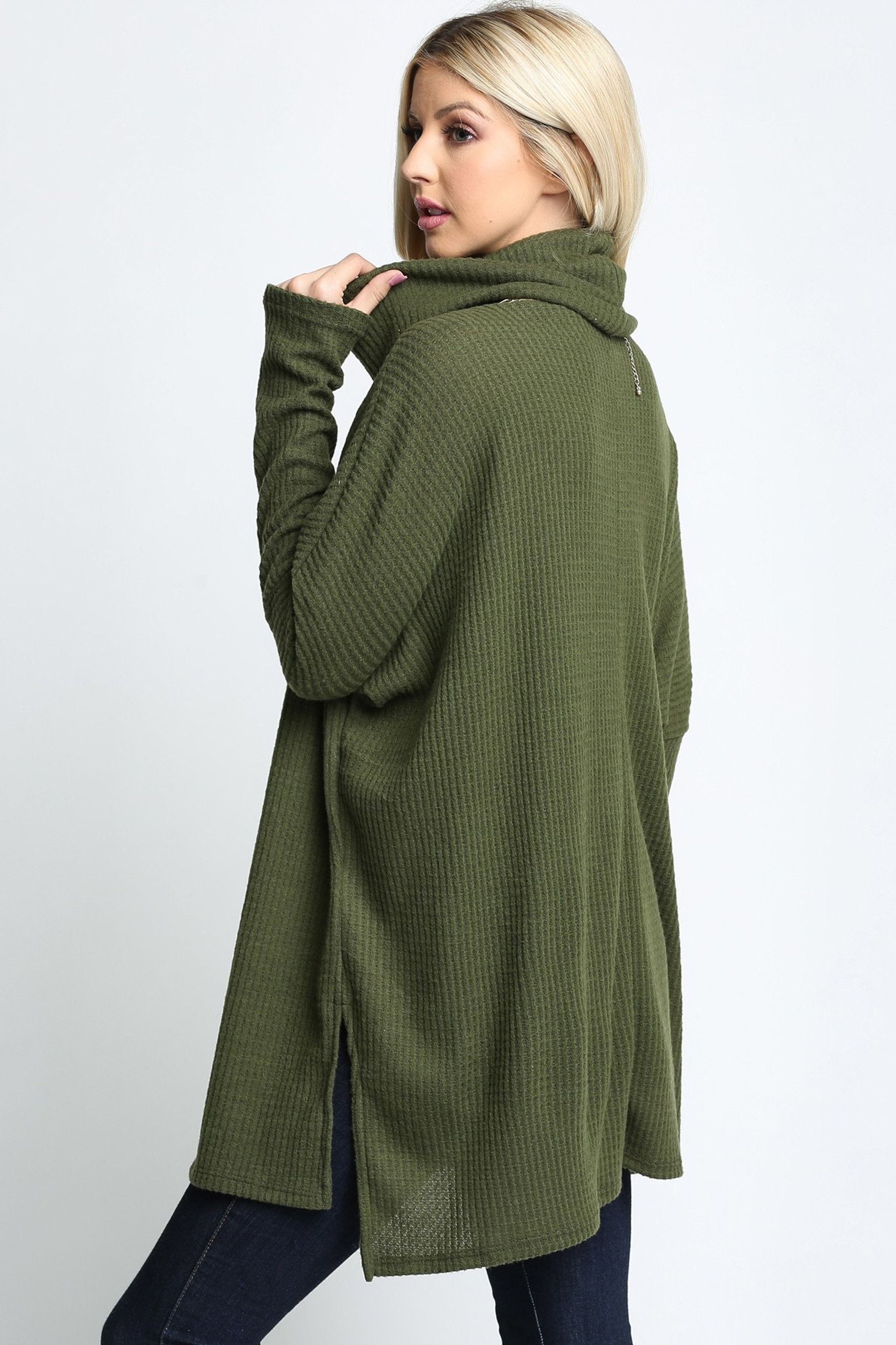 Olive Waffle Knit Cowl Neck Dolman Sleeve Plus Size Top