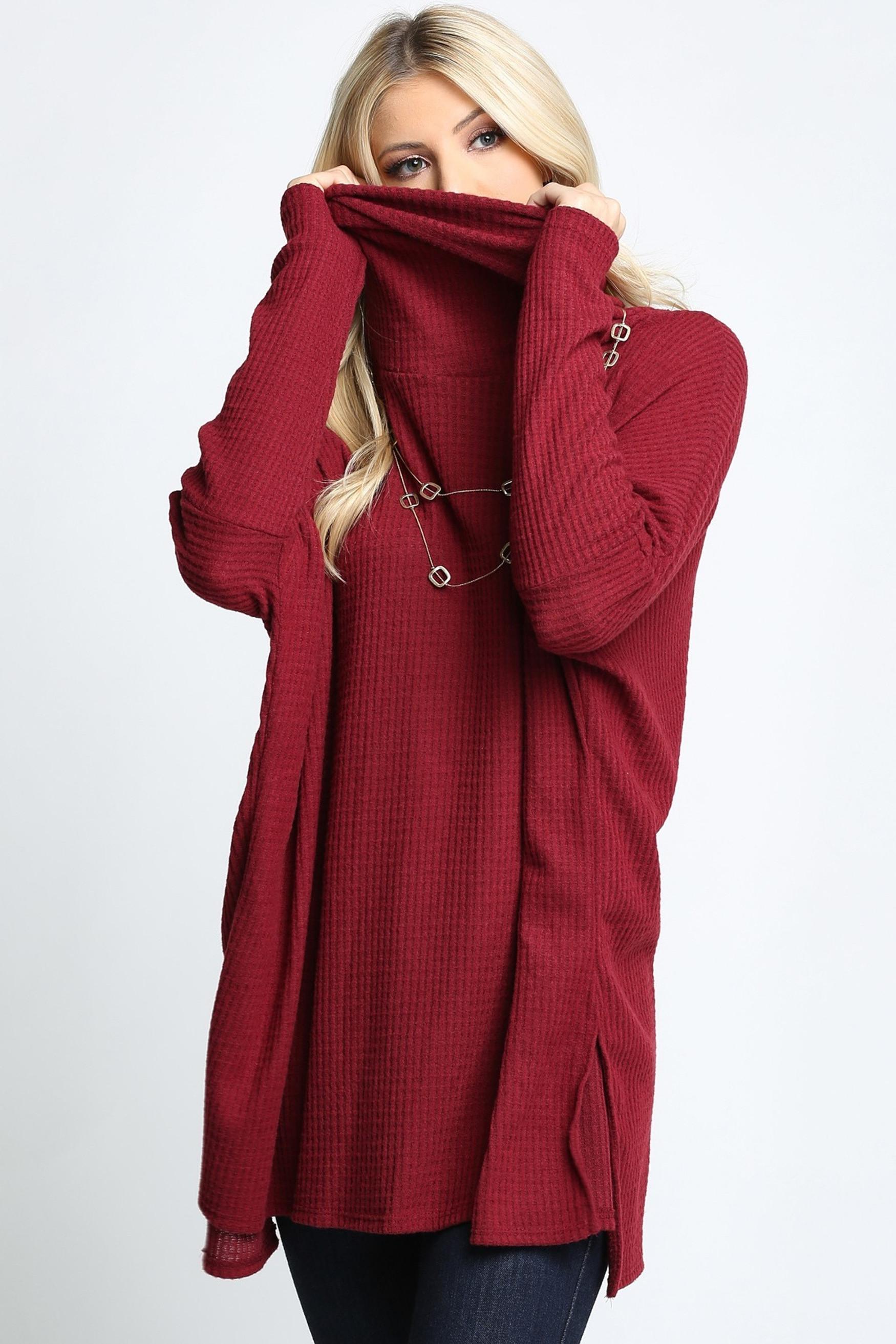 Burgundy Waffle Knit Cowl Neck Dolman Sleeve Top