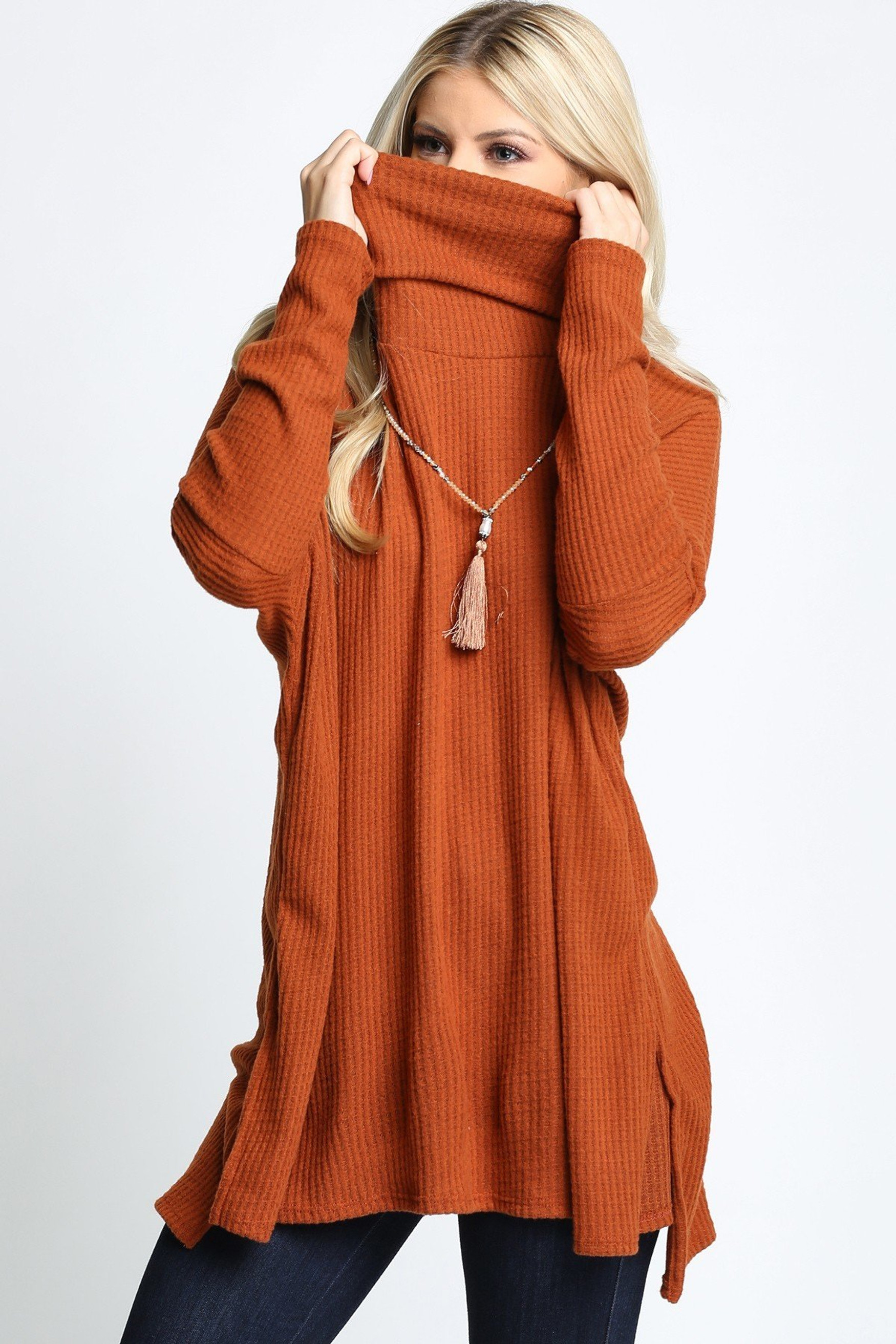 Rust Waffle Knit Cowl Neck Dolman Sleeve Top