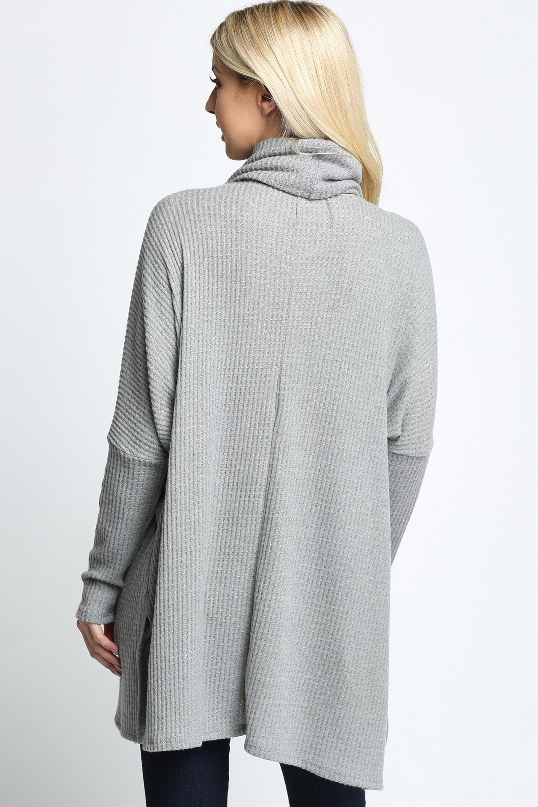 Grey Waffle Knit Cowl Neck Dolman Sleeve Top