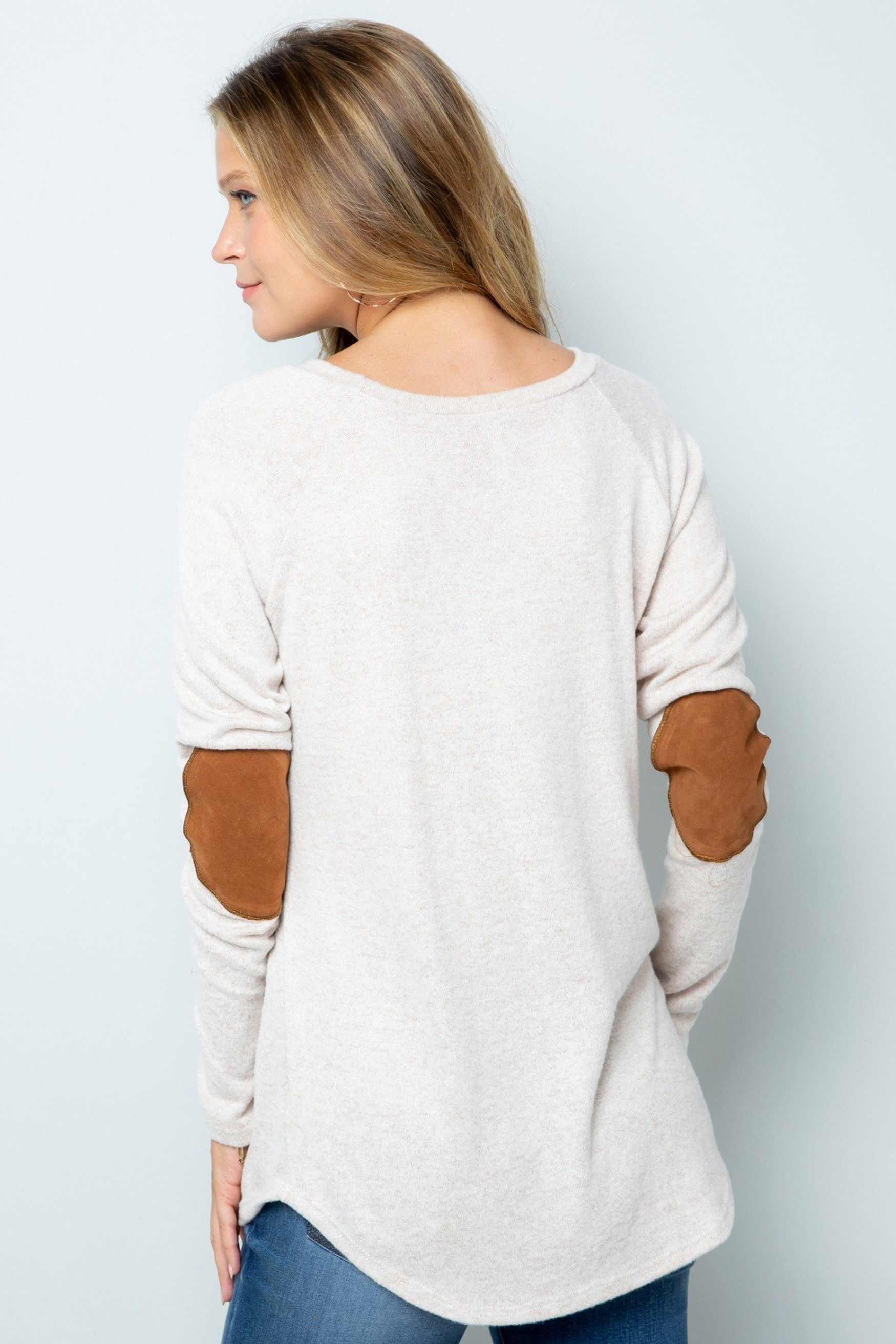 White Waffle Knit Elbow Contrast V Neck Long Sleeve Plus Size Top