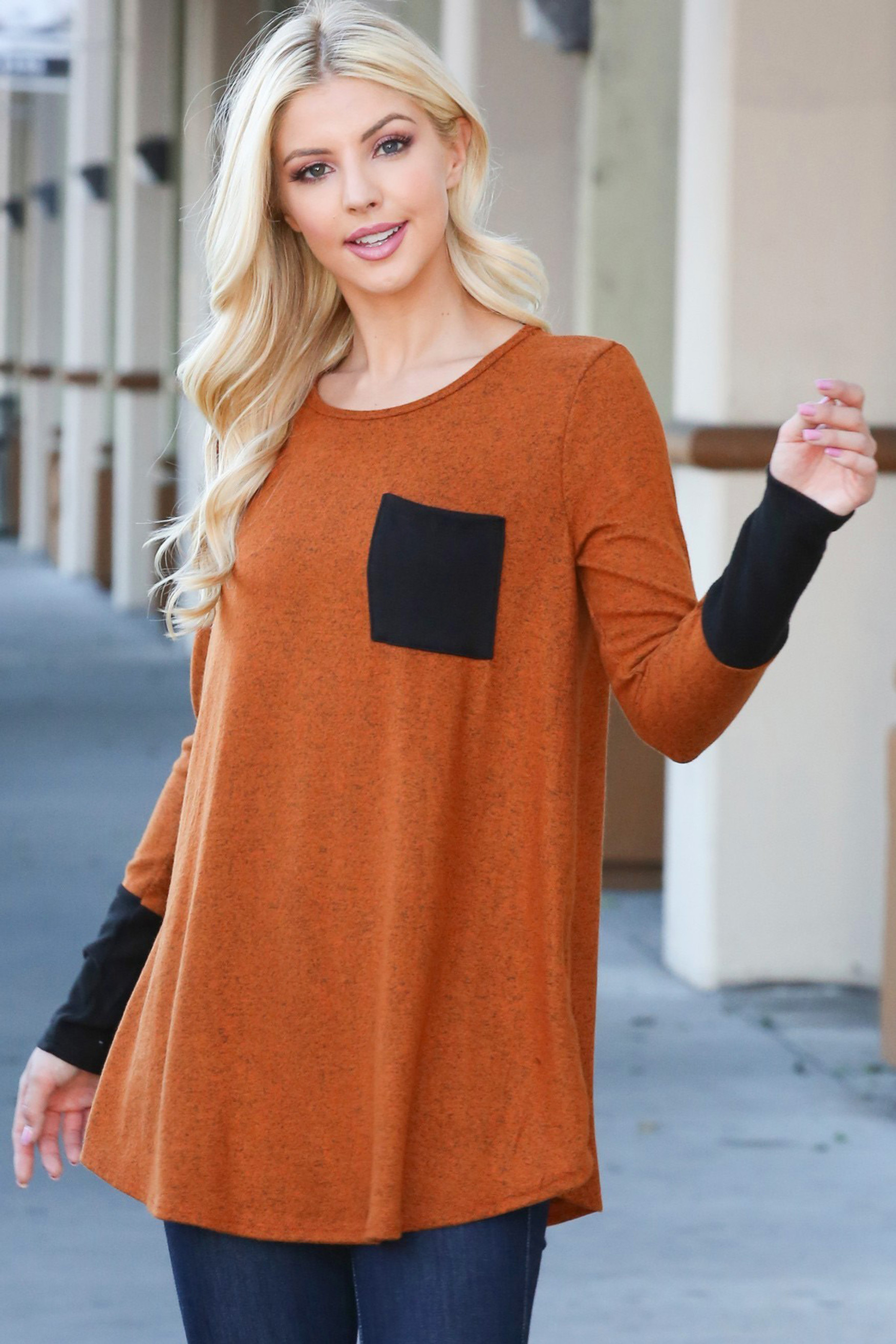 Brick Contrast Cuff Long Sleeve Top with Front Pocket