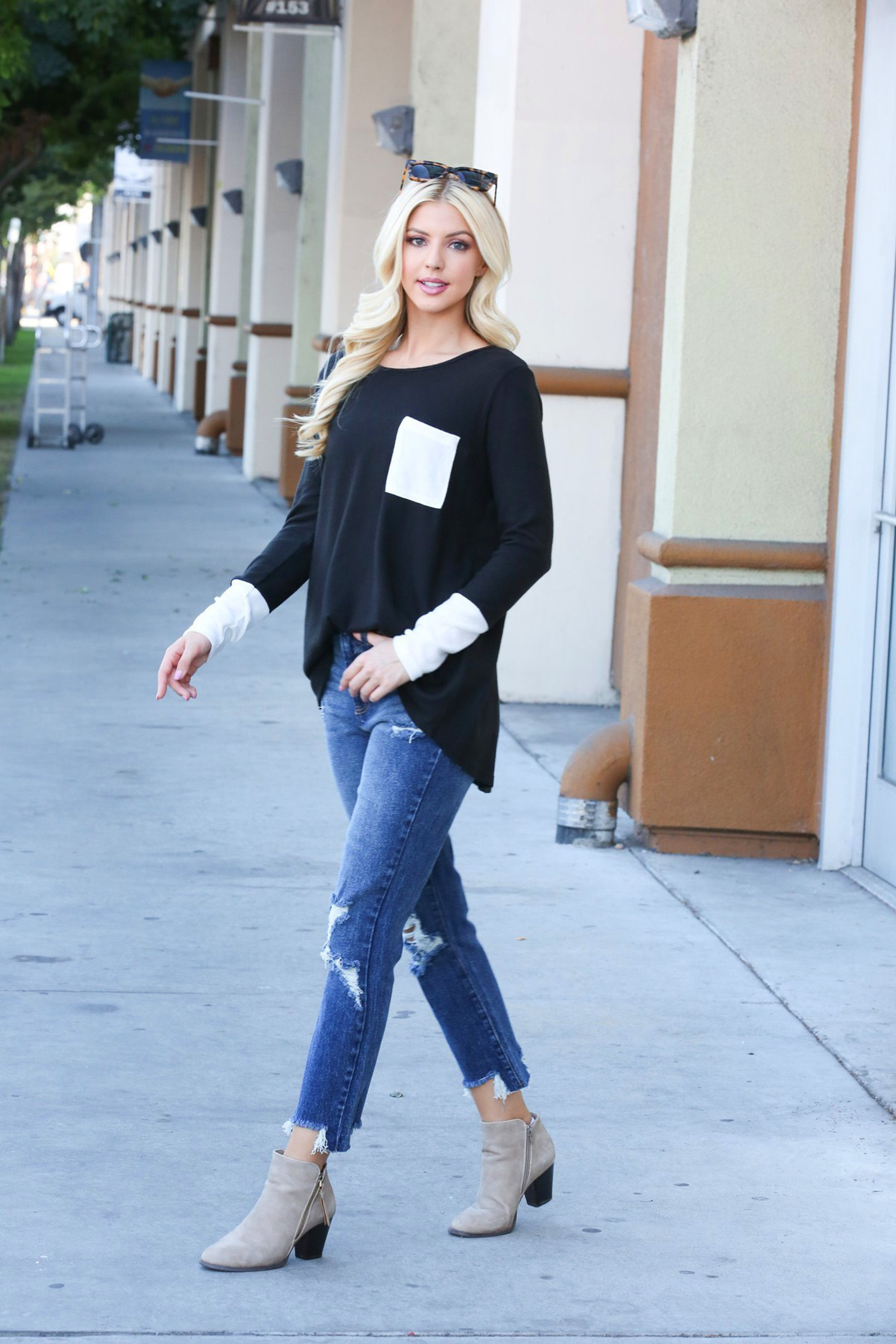 Black Contrast Cuff Long Sleeve Top with Front Pocket