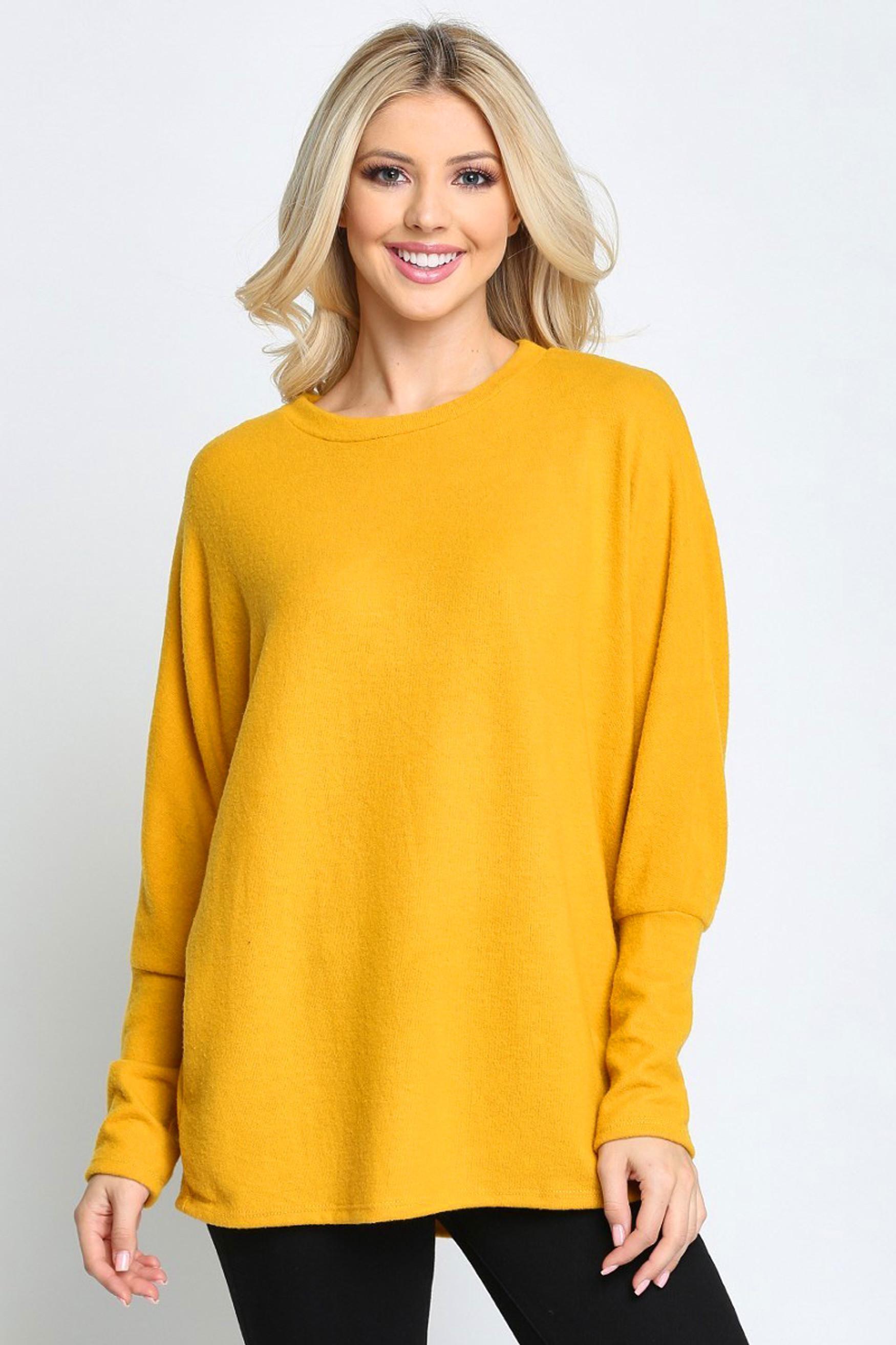 Mustard Solid Long Sleeve Dolman Plus Size Top