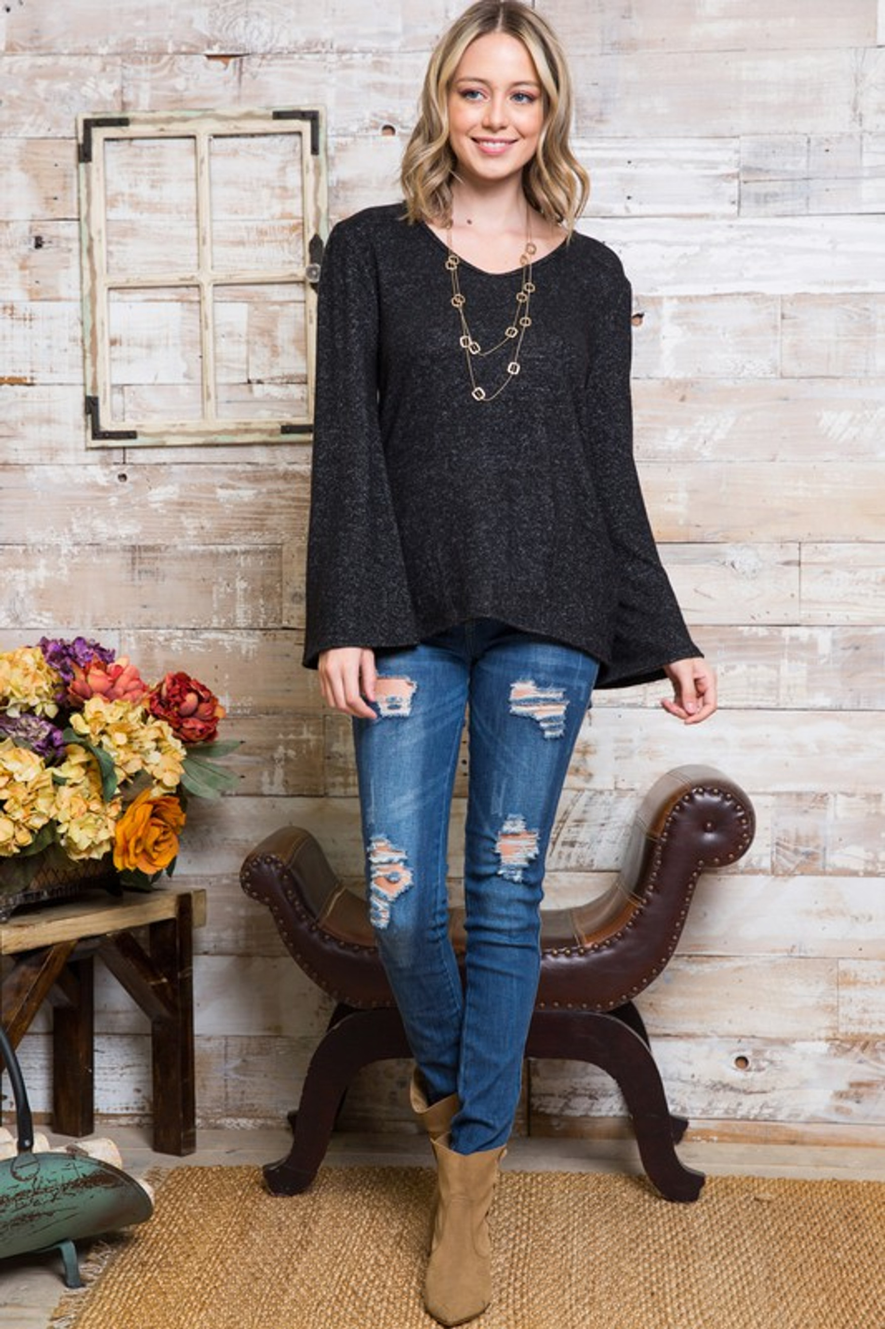 Marled Bell Sleeve V Neck Plus Size Top