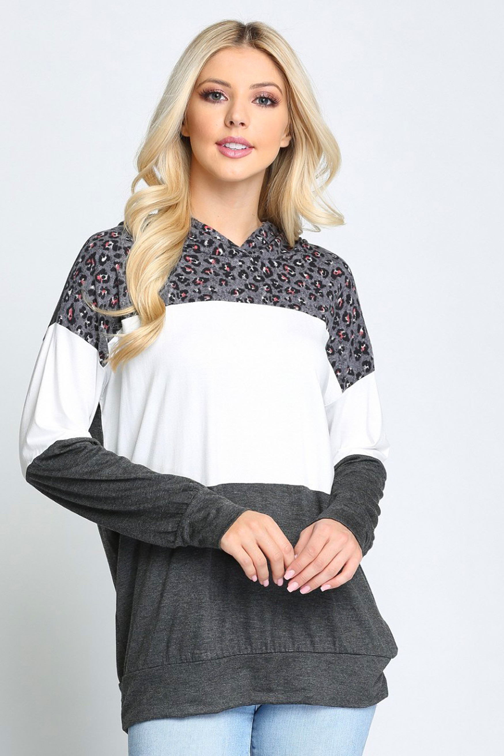 Grey Leopard Accent Color Blocked Hooded Long Sleeve Top