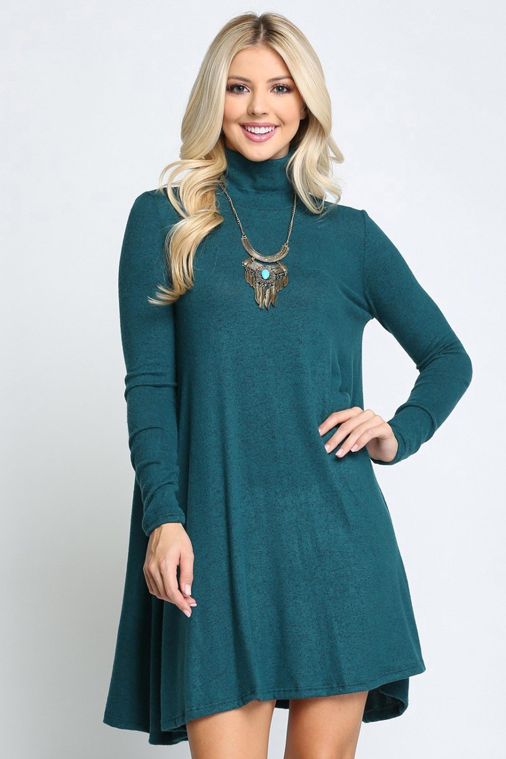 Hunter Green Long Sleeve Hacci Knit Mock Neck Swing Dress