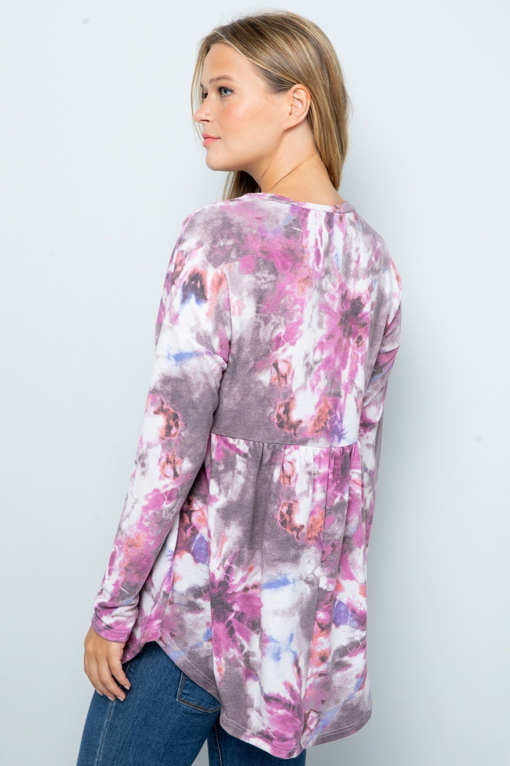 Purple Pleated Hem Tie Dye Long Sleeve Top