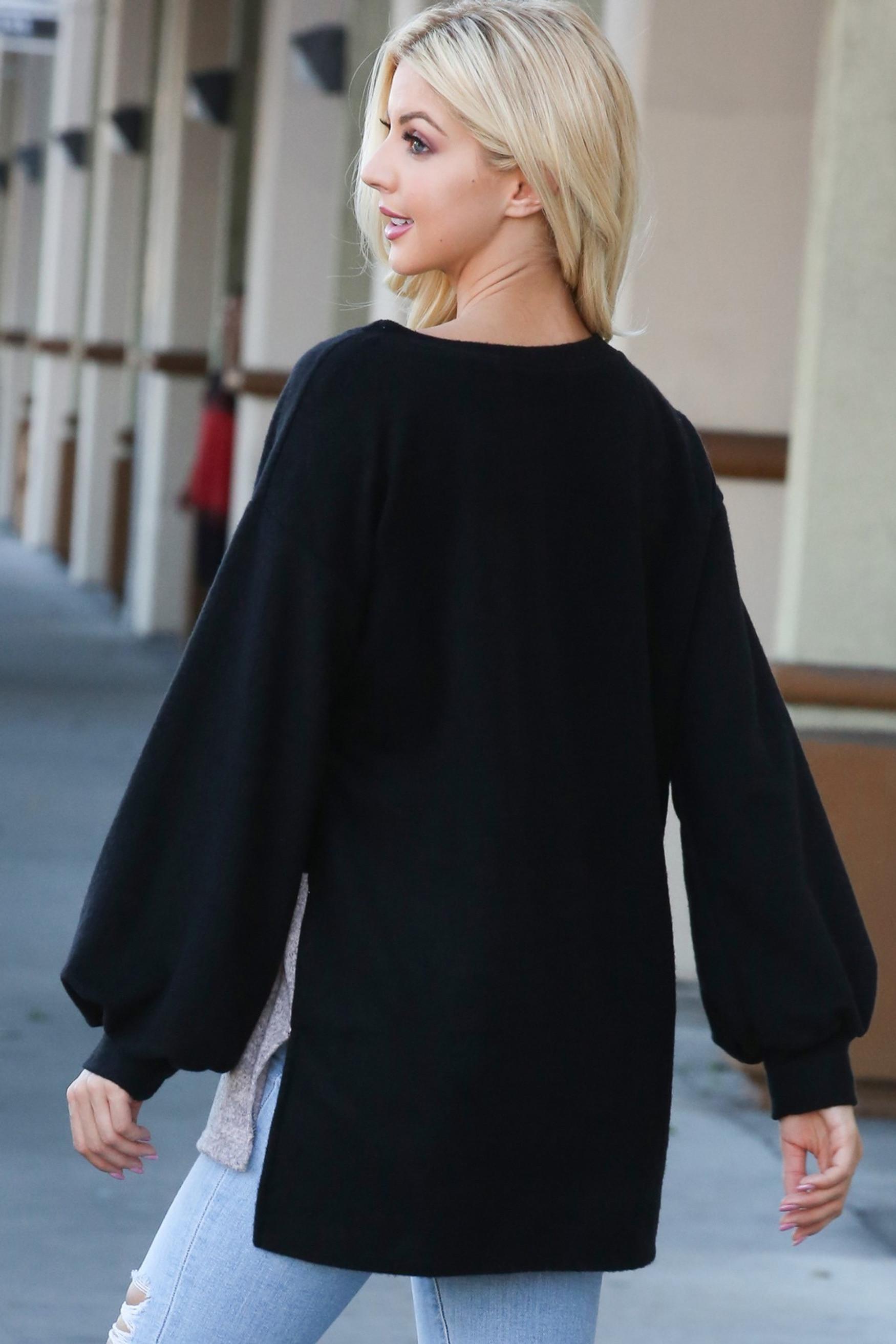 Black Hi-Low Color Blocked Long Sleeve Top