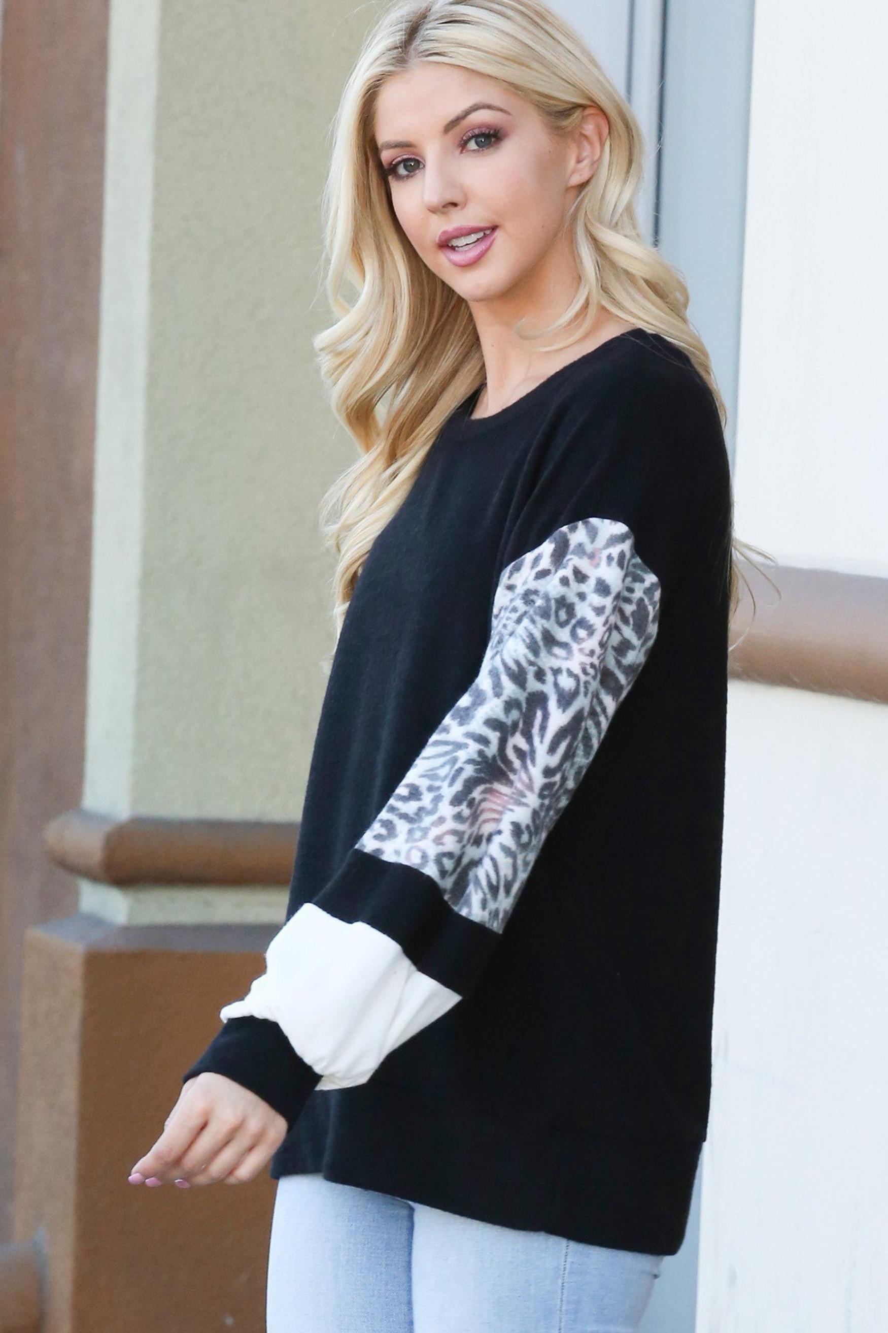 Black Leopard Contrast Dropped Shoulder Long Sleeve Top