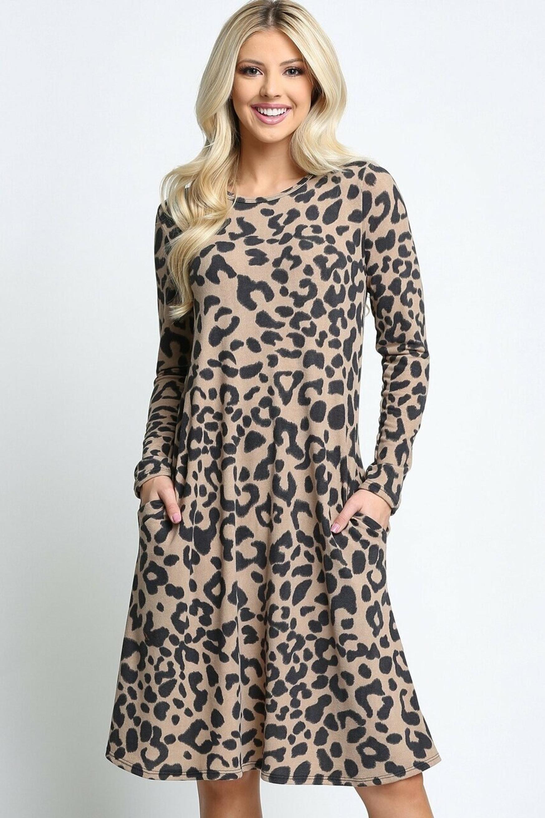 Taupe -Leopard  Long Sleeve Midi Dress