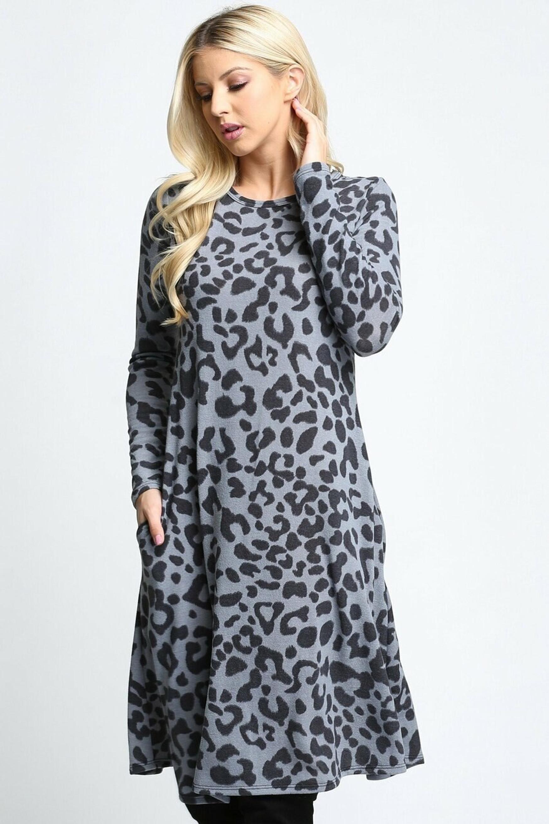 Gray  -Leopard  Long Sleeve Midi Dress