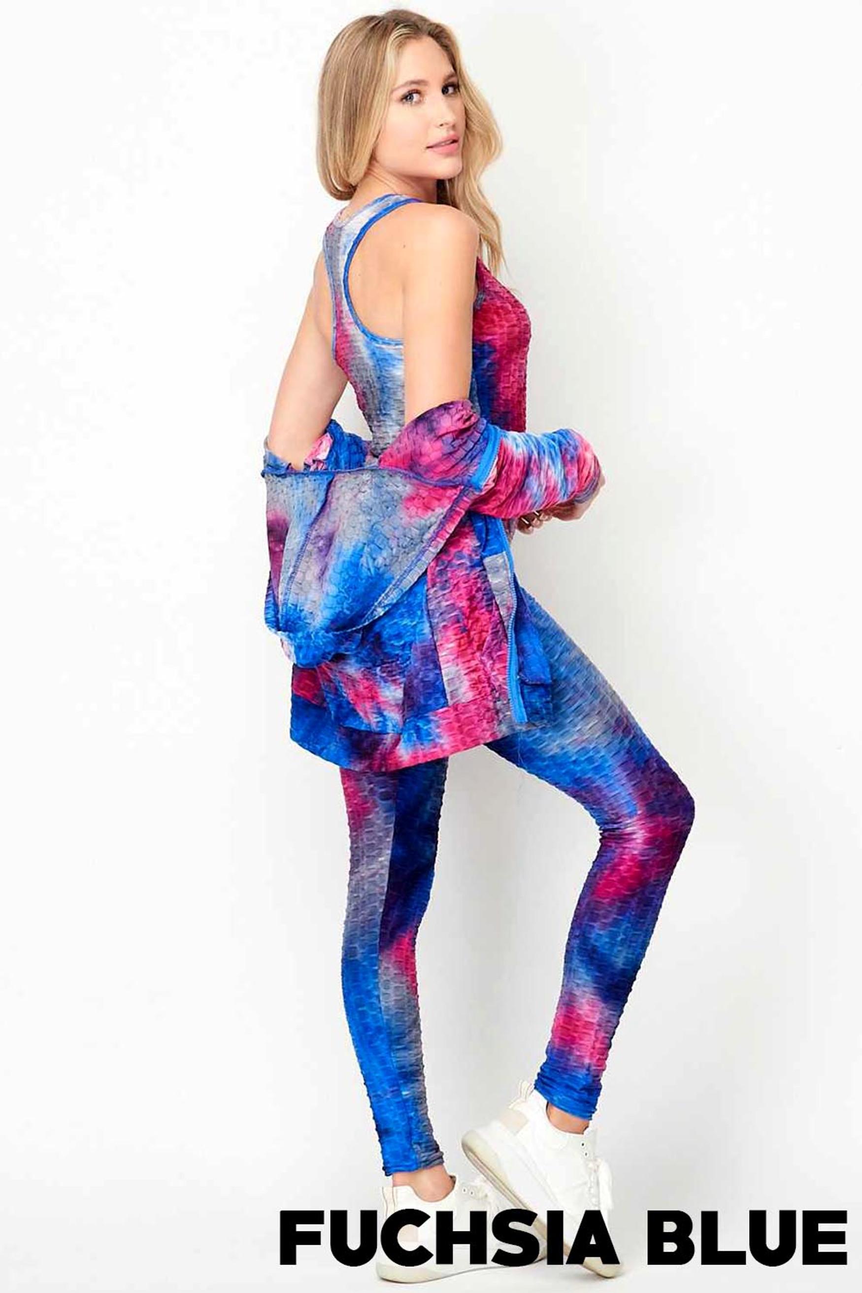 Tie Dye 3 Piece Textured Scrunch Butt Leggings Tank Top and Hoodie Jacket Set