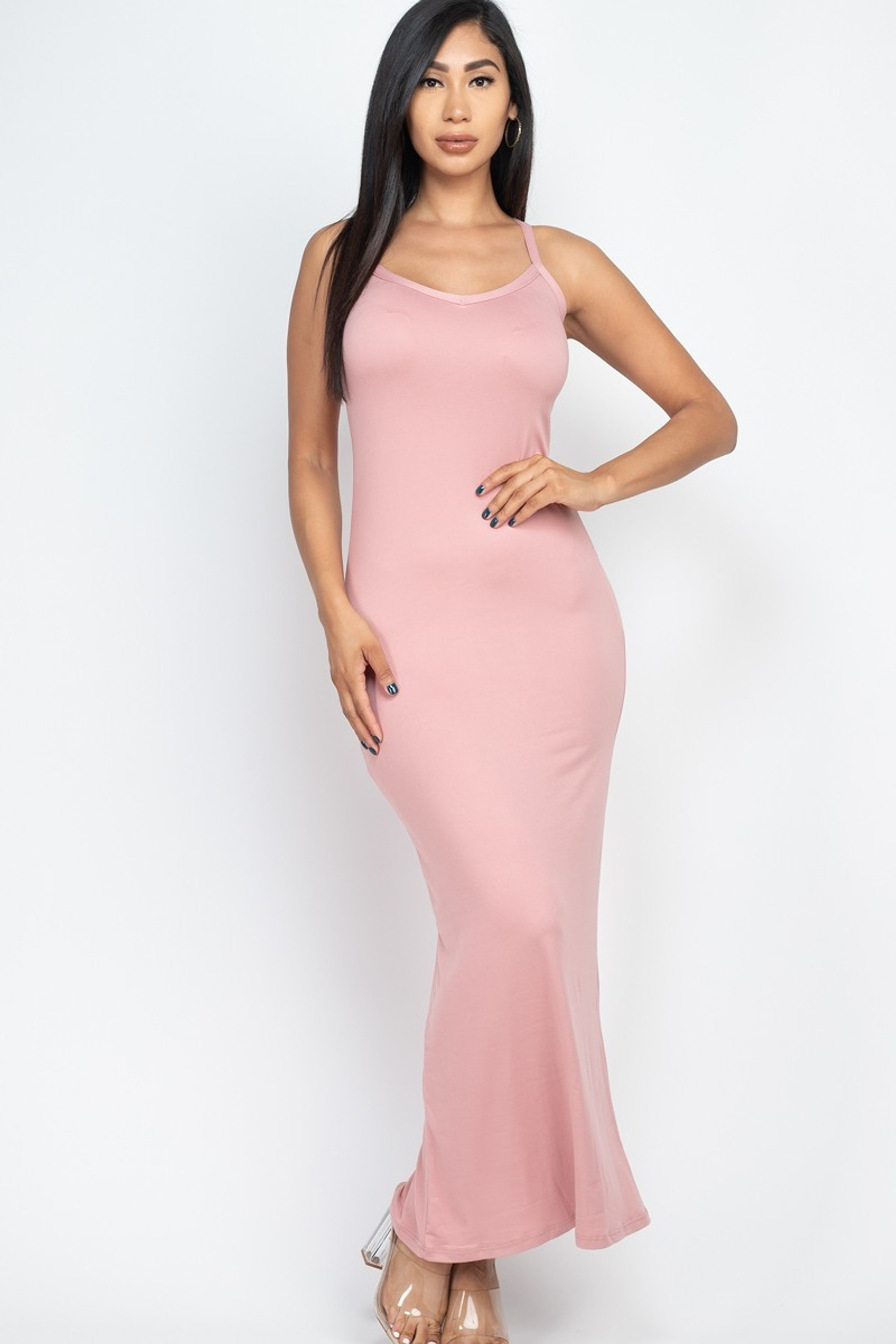 Sleeveless Racer Back Stretch Knit Maxi Dress