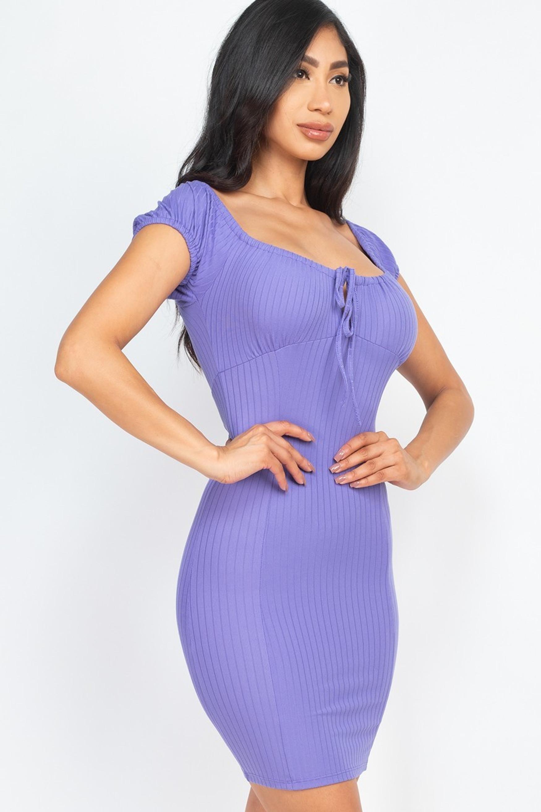 Off the Shoulder Rib Knit Tie Front Bodycon Mini Dress