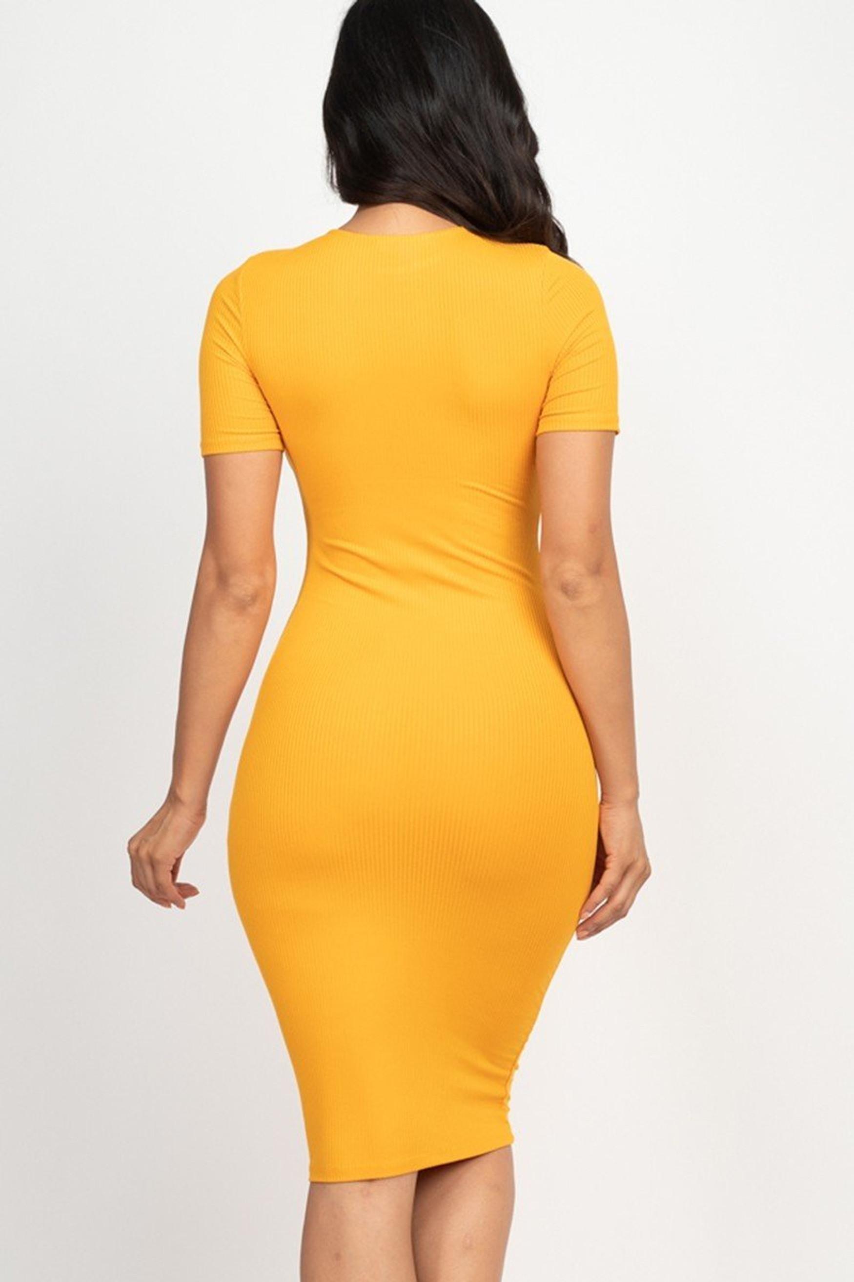 Short Sleeve Rib Knit Bodycon Midi Dress