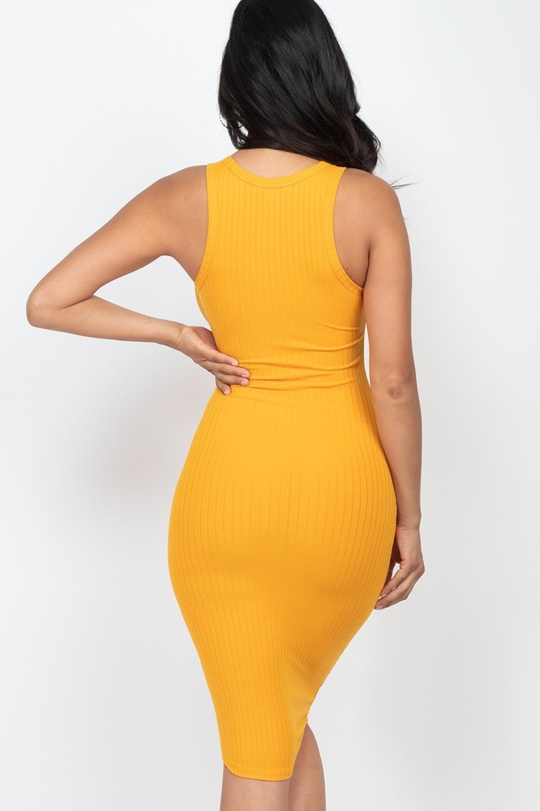 Sleeveless Split V Neckline Rib Knit Bodycon Midi Dress