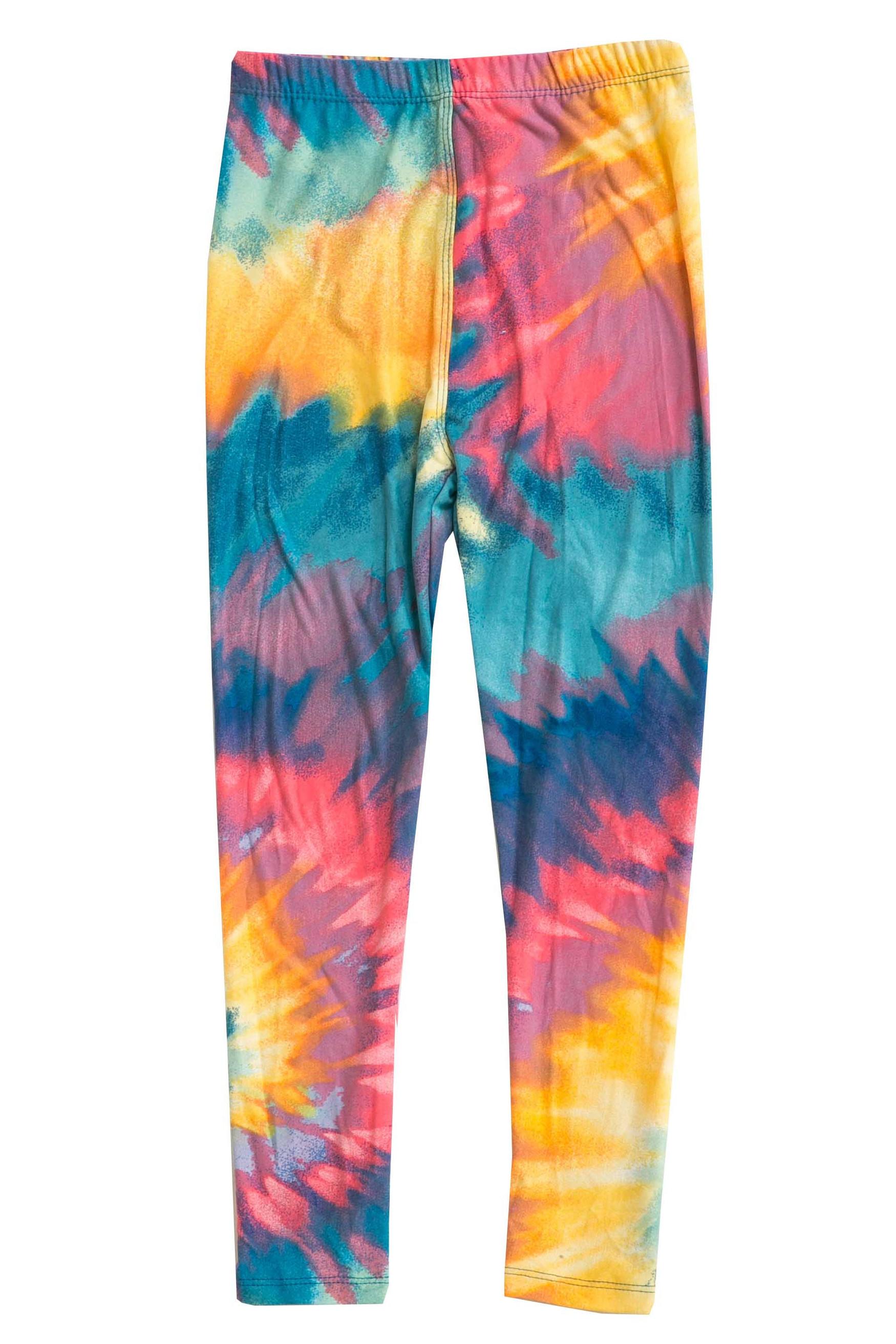 Buttery Soft Multi-Color-Bold Tie Dye Kids Leggings