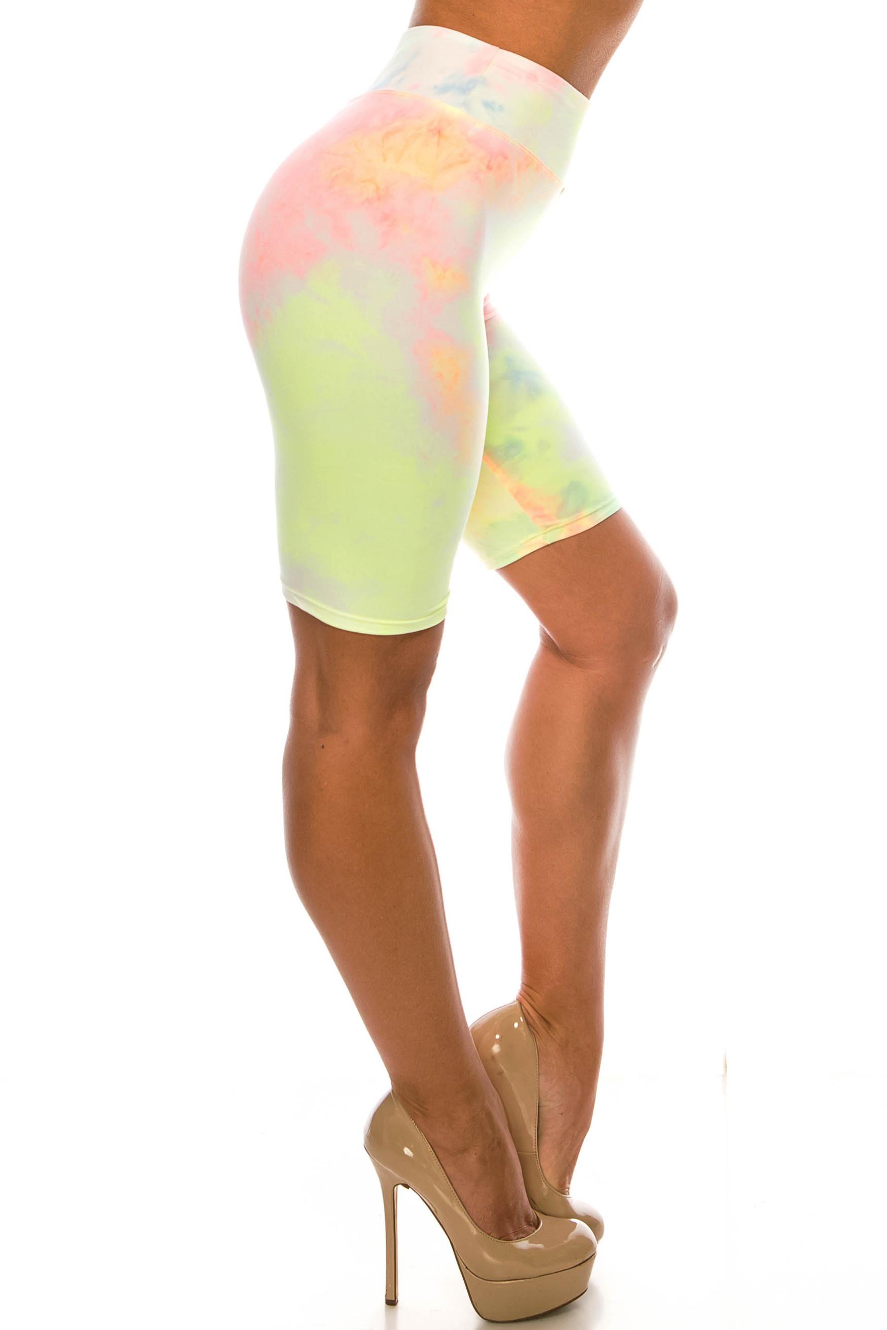 Buttery Soft Pastel Tie Dye High Waisted Biker Shorts - 3 Inch Waist