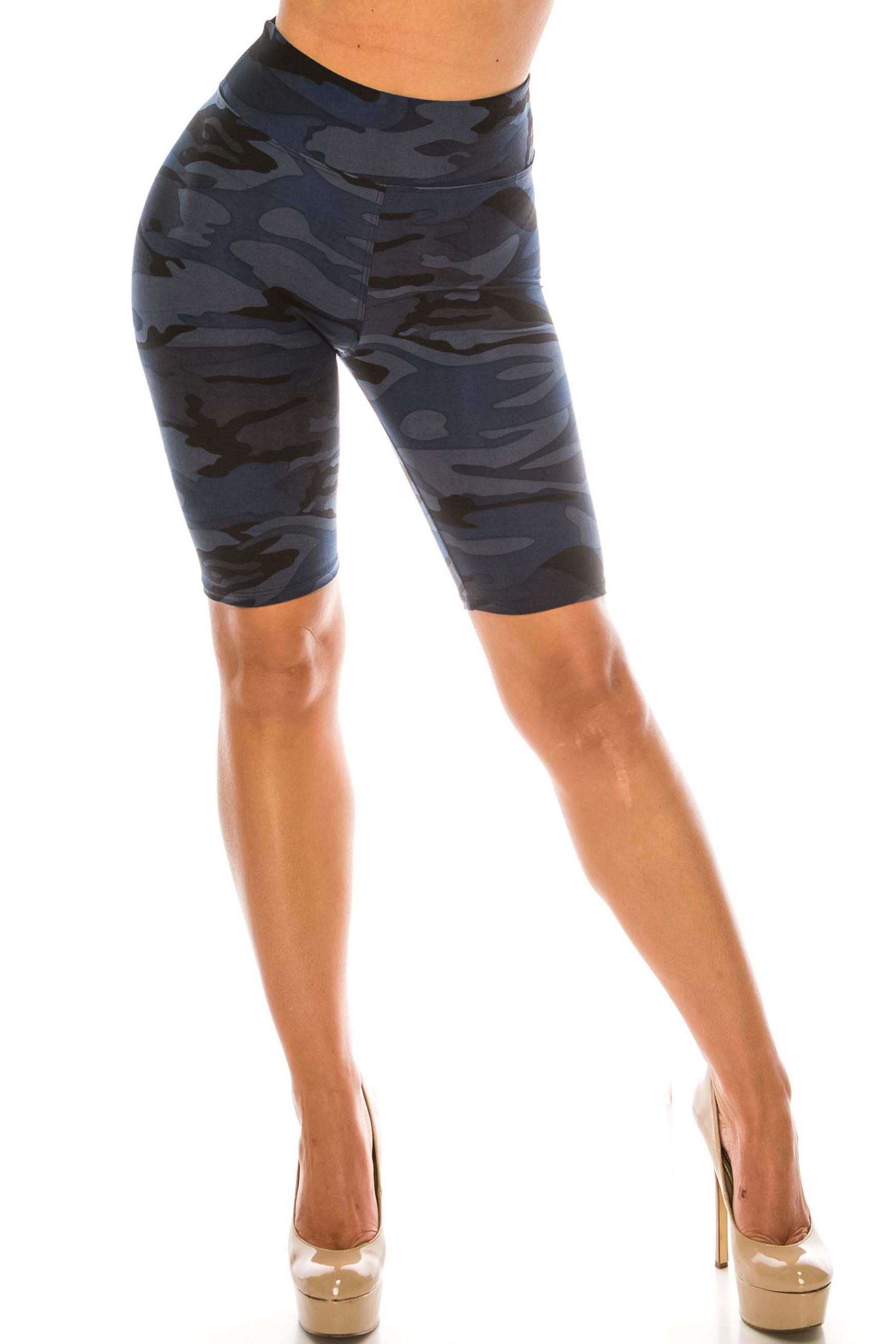 Buttery Soft  Navy Camouflage Biker Shorts - 3 Inch Waist