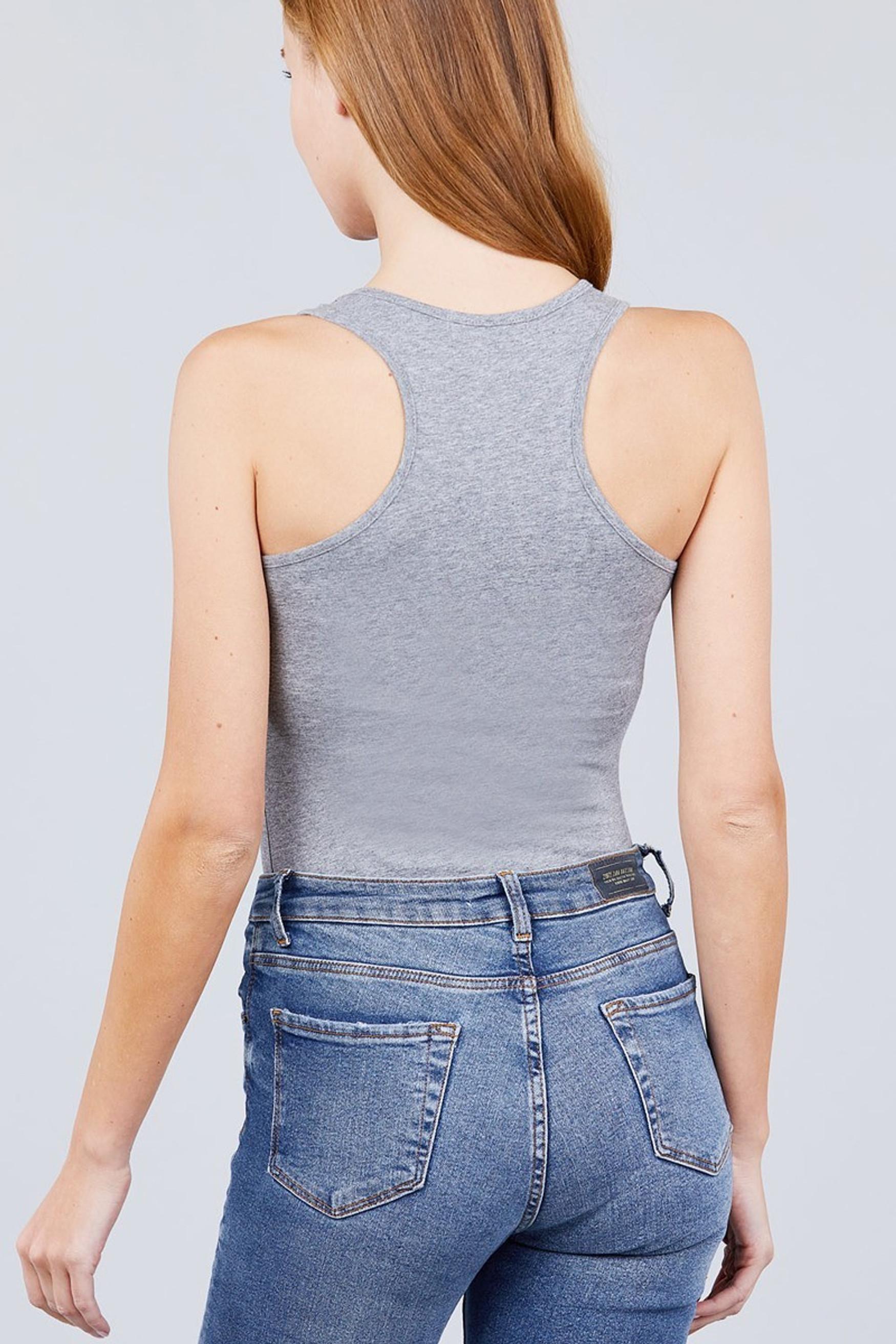 Heather Gray Basic Solid Scoop Neck Cotton Bodysuit