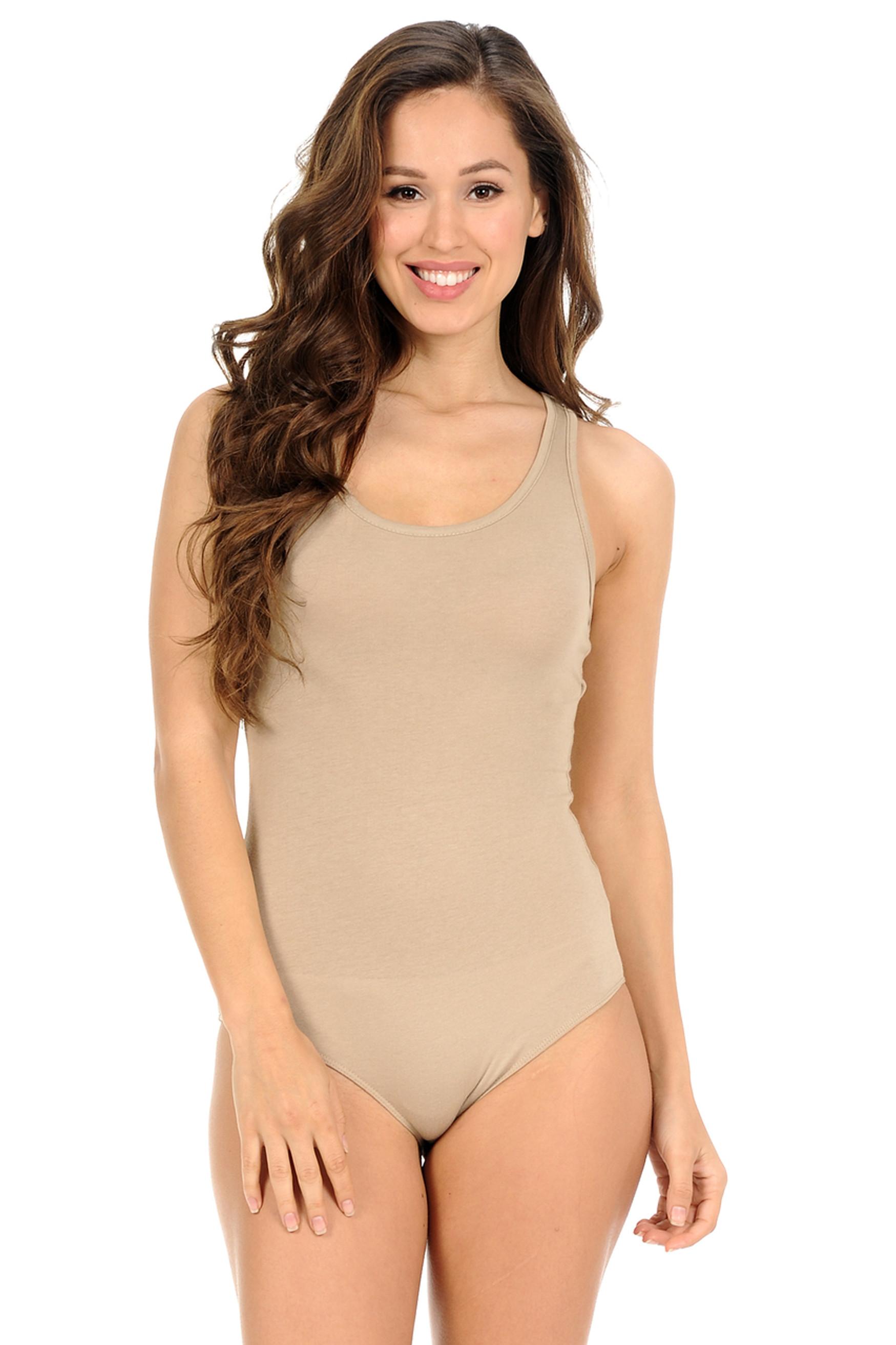 Khaki Basic Scoop Neck Cotton Bodysuit