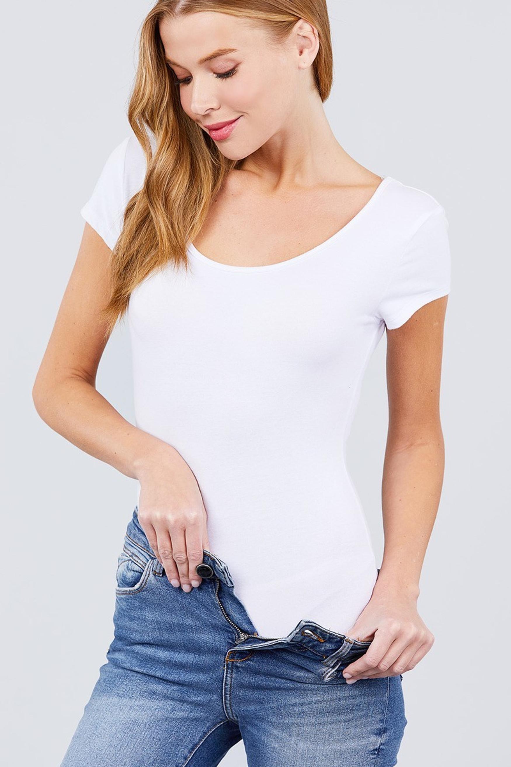 White Basic Solid Short Sleeve Scoop Neck Cotton Bodysuit