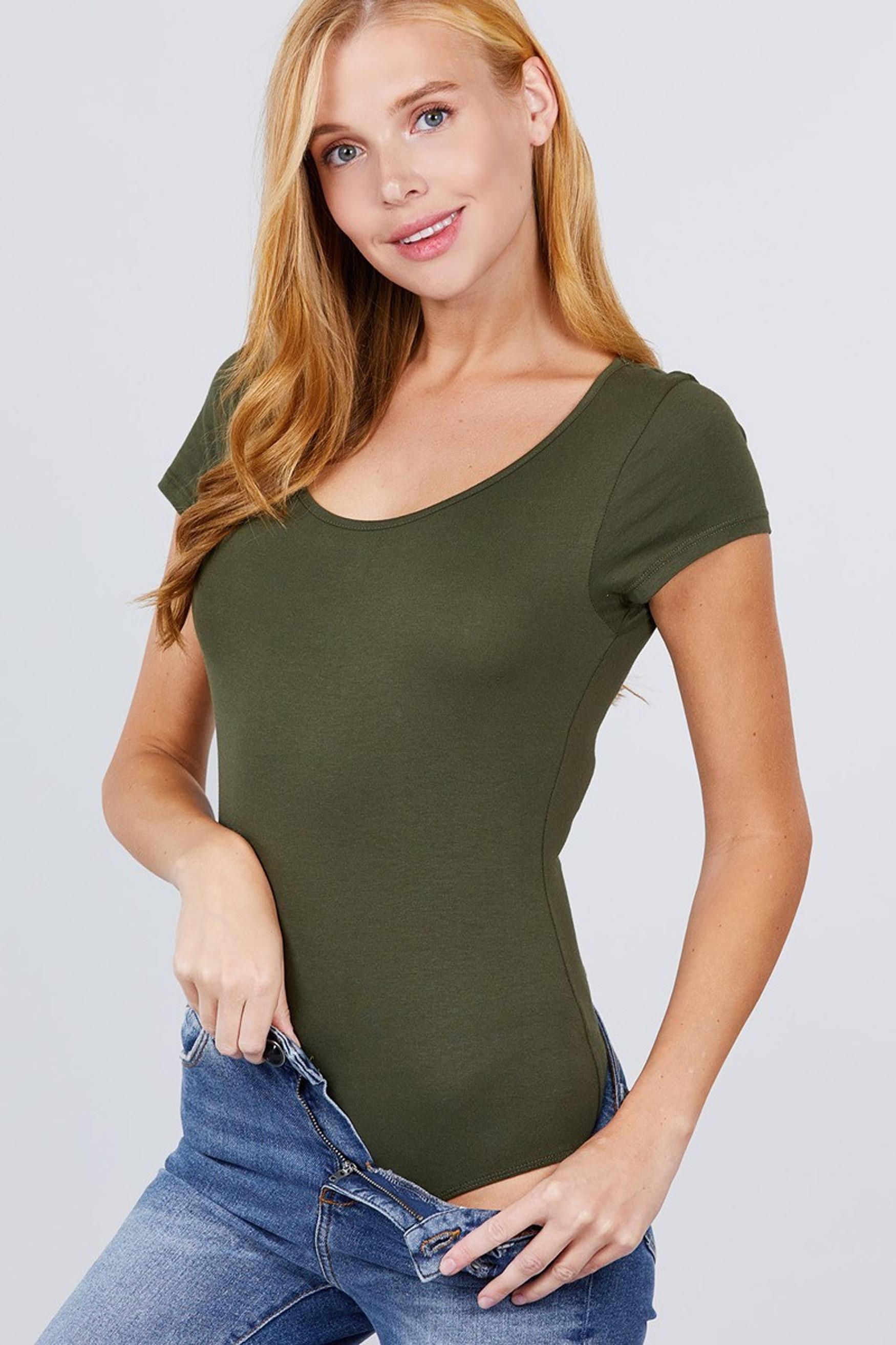 Olive Basic Solid Short Sleeve Scoop Neck Cotton Bodysuit