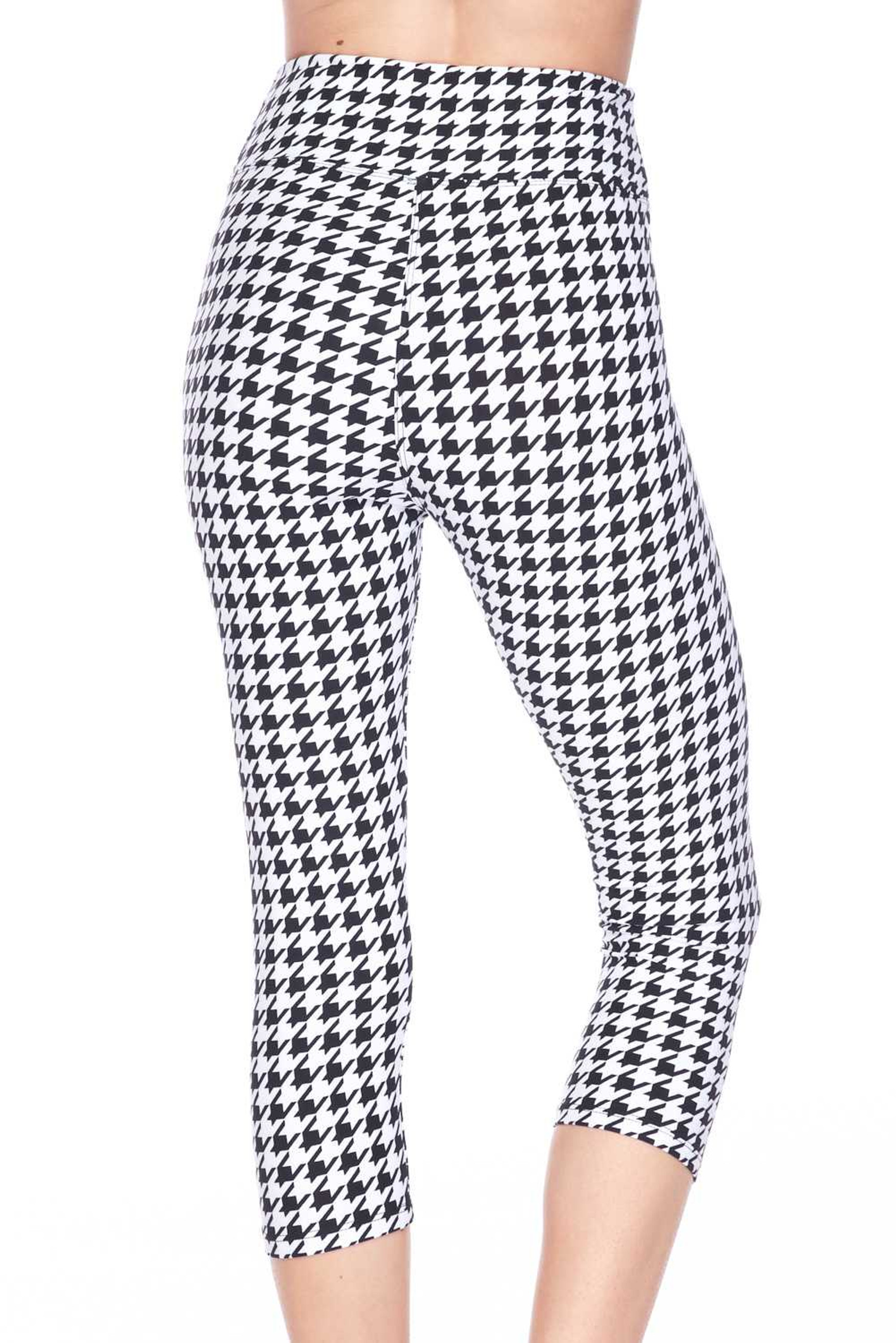 Buttery Soft Houndstooth Capris - 3 Inch Waist Band