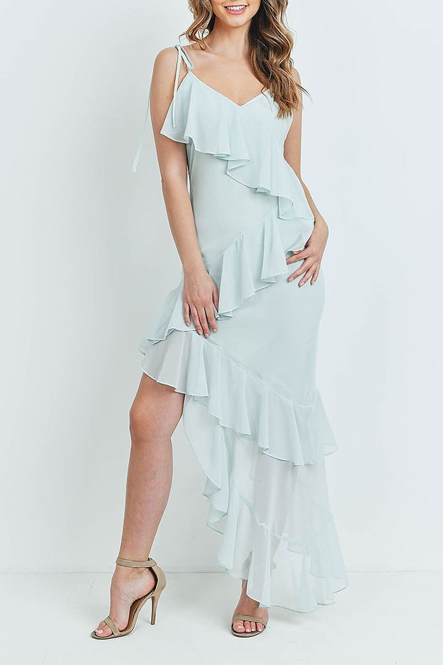 Mint  Cascading Ruffle Hi-Low Shoulder Tie Maxi Dress
