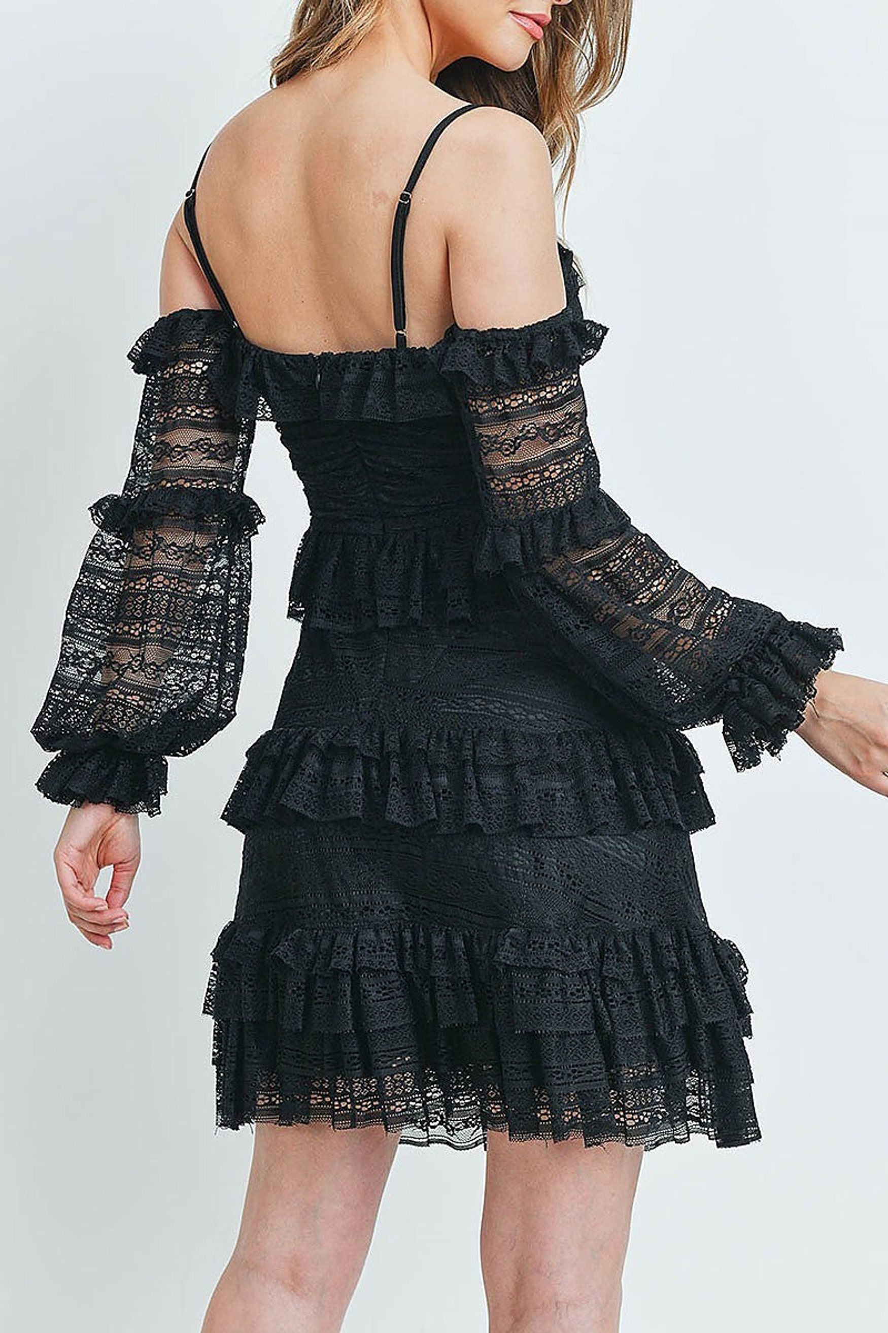 Black Tiered Ruffle Off the Shoulder Lace Sleeve Dress