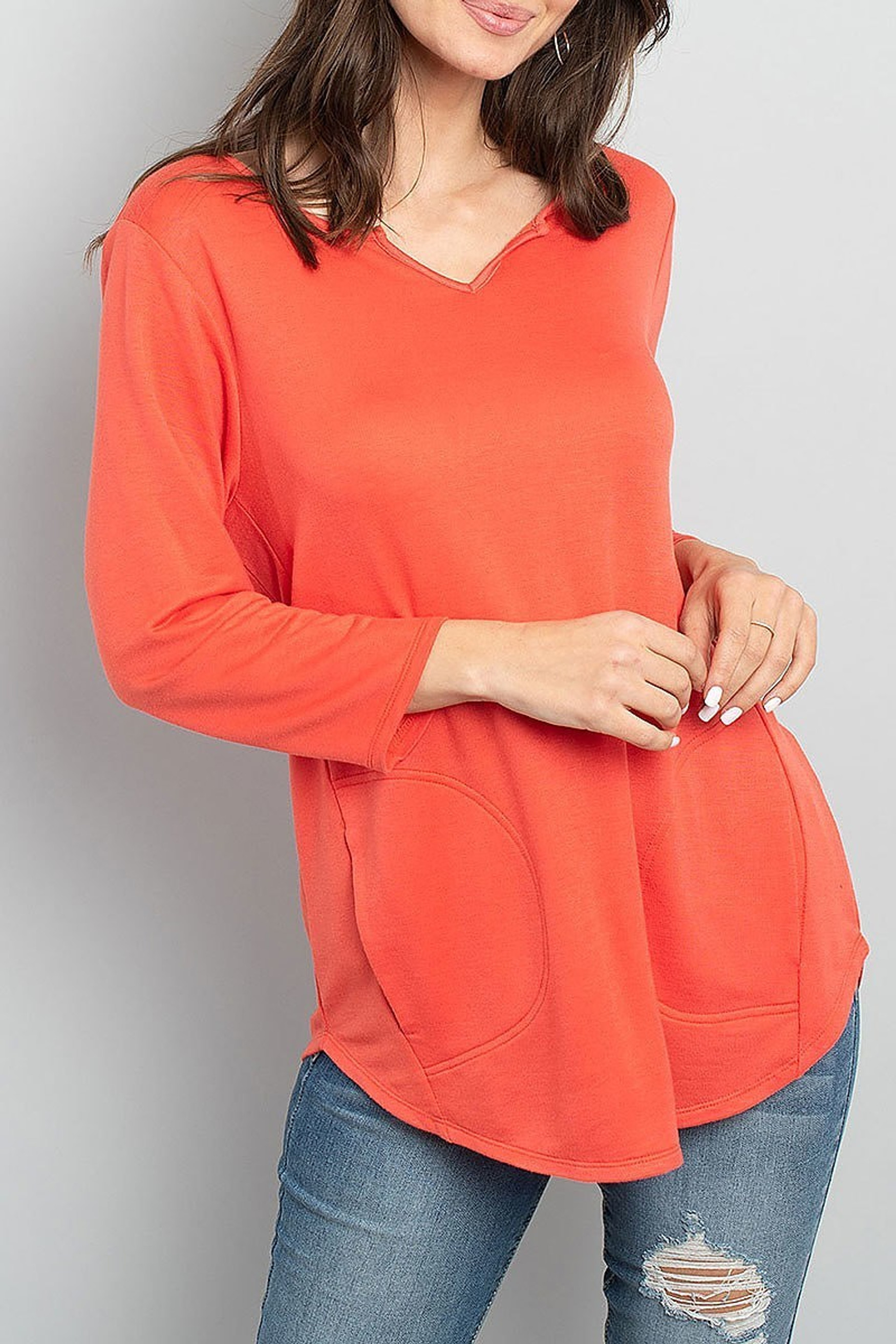 Coral Split Neck Round Hem Long Sleeve Tunic with Pockets
