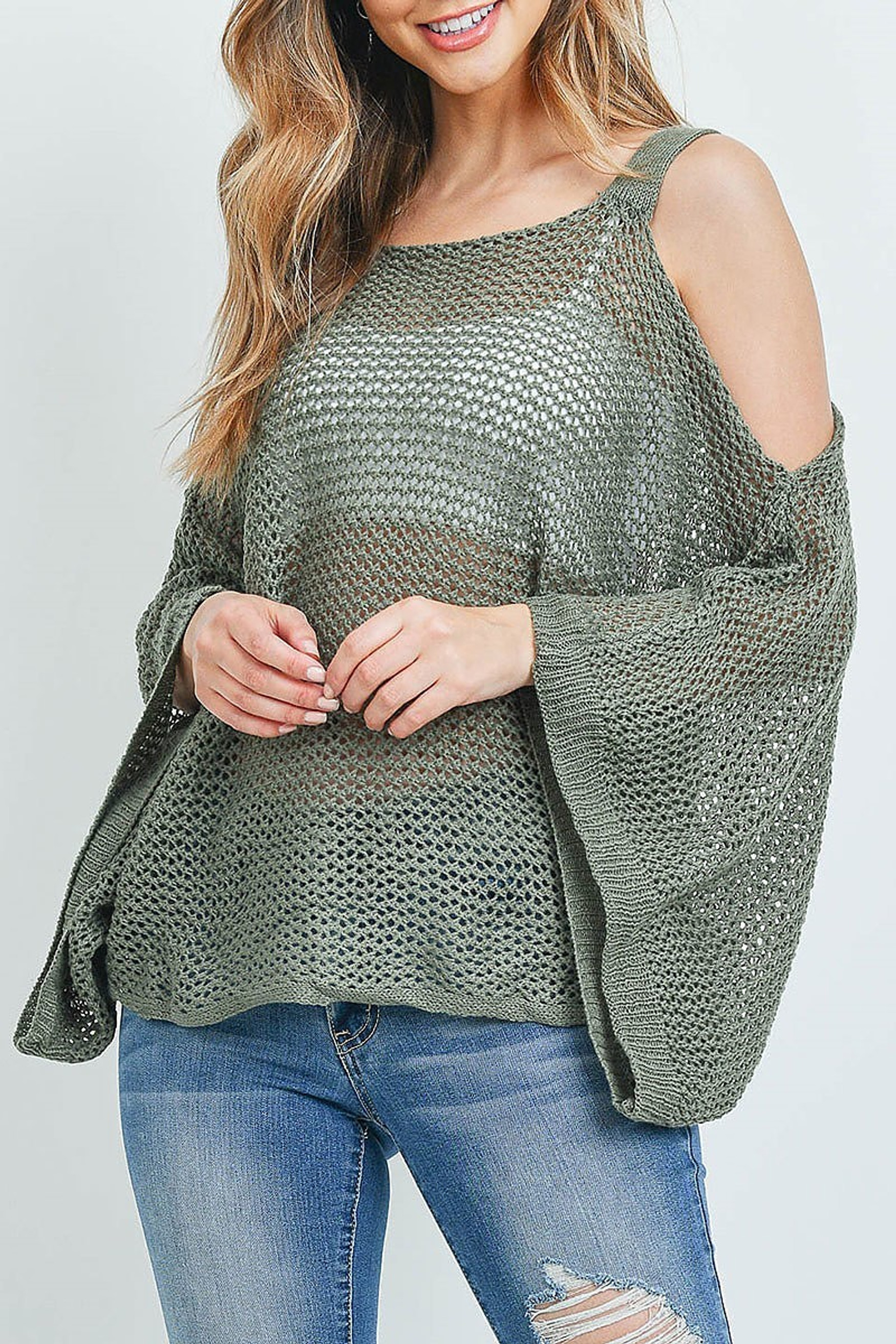 Olive Crochet Wide Sleeve Cold Shoulder Top