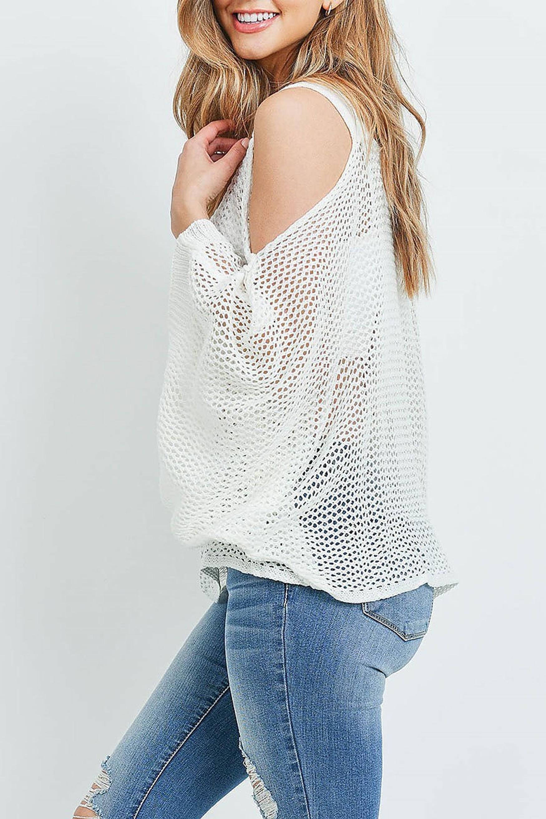 Off White Crochet Wide Sleeve Cold Shoulder Top