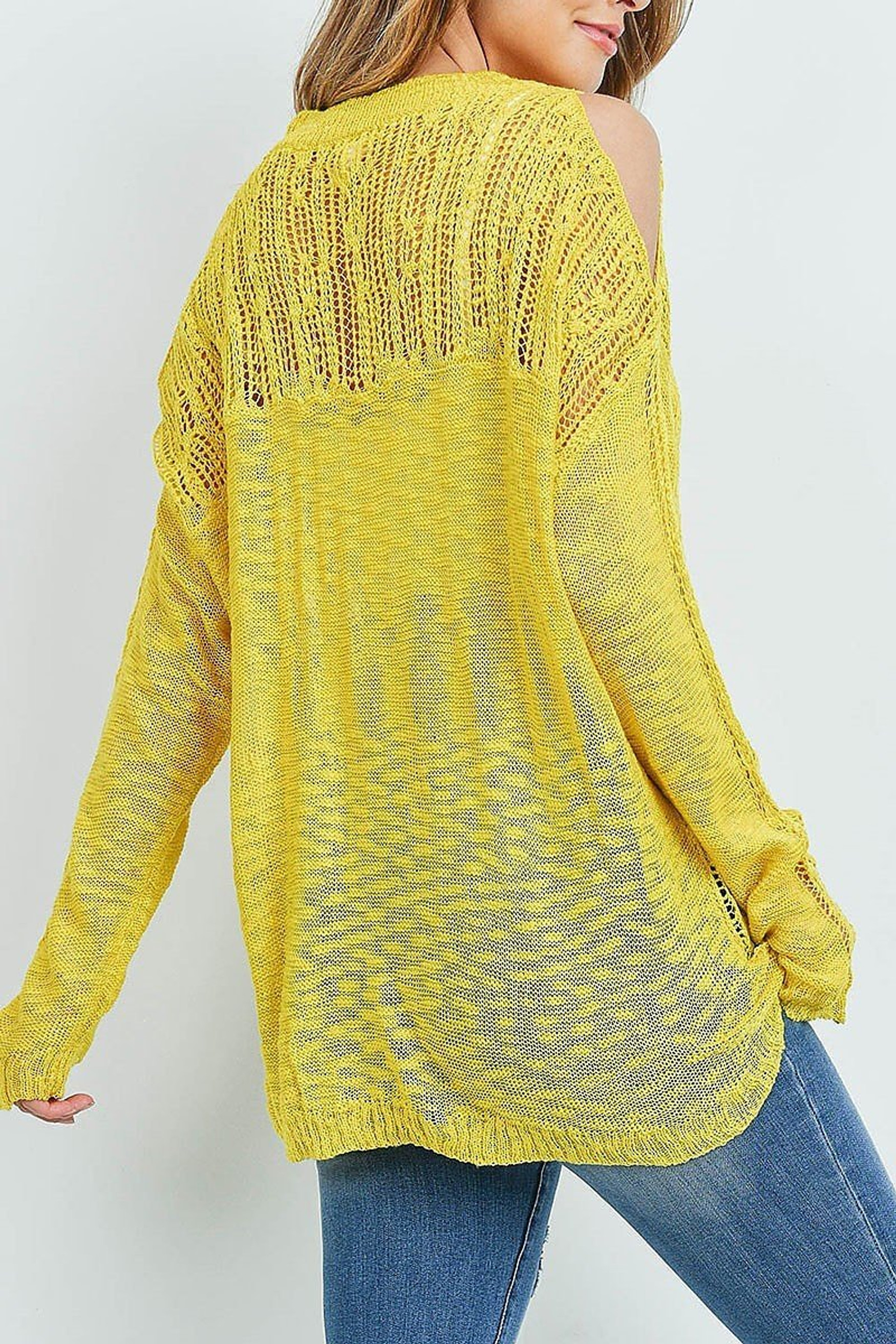 Mustard Sheer Crochet Detail Cold Shoulder Sweater