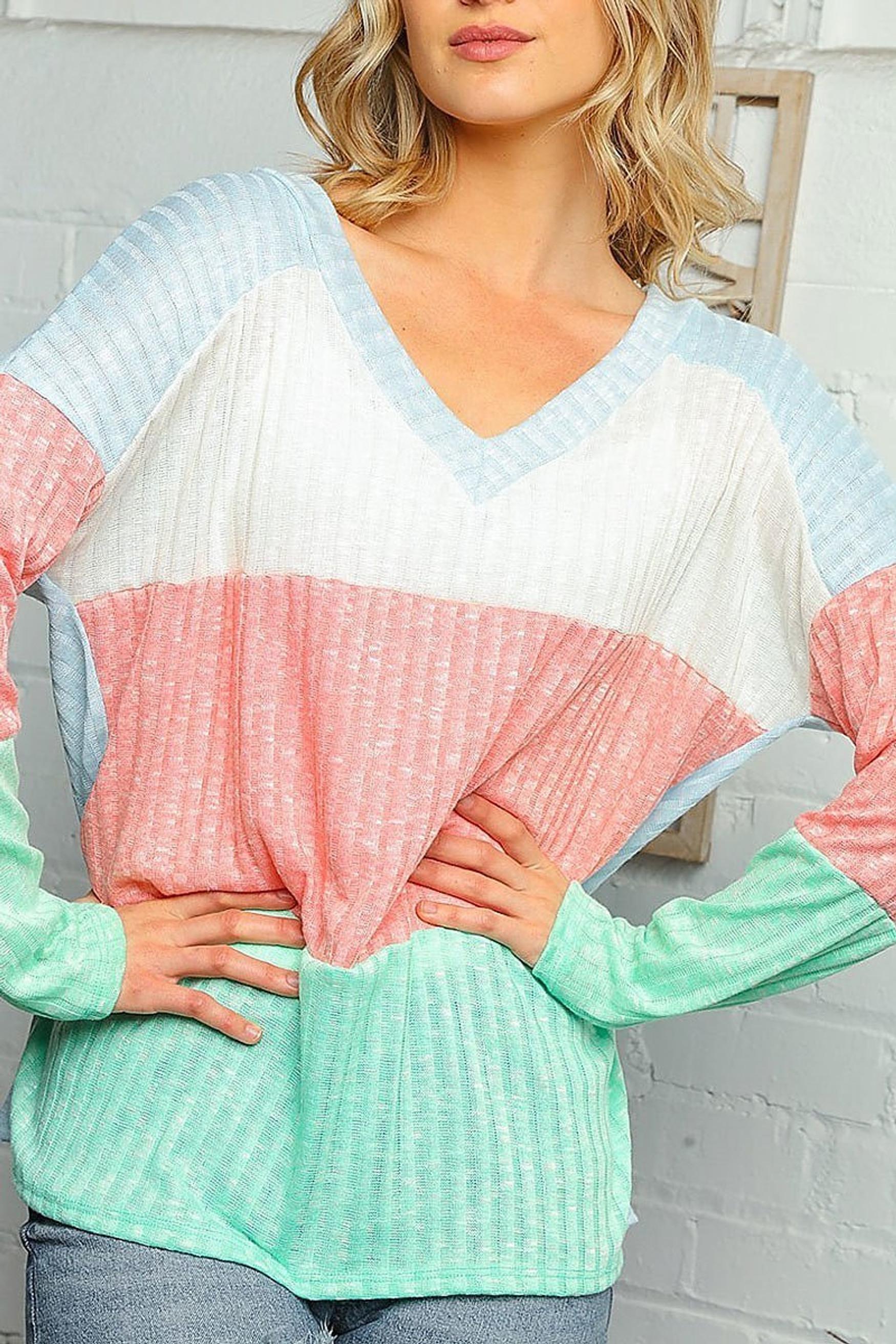 Pastel Color Block Rib Knit Long Sleeve V-Neck Plus Size Top